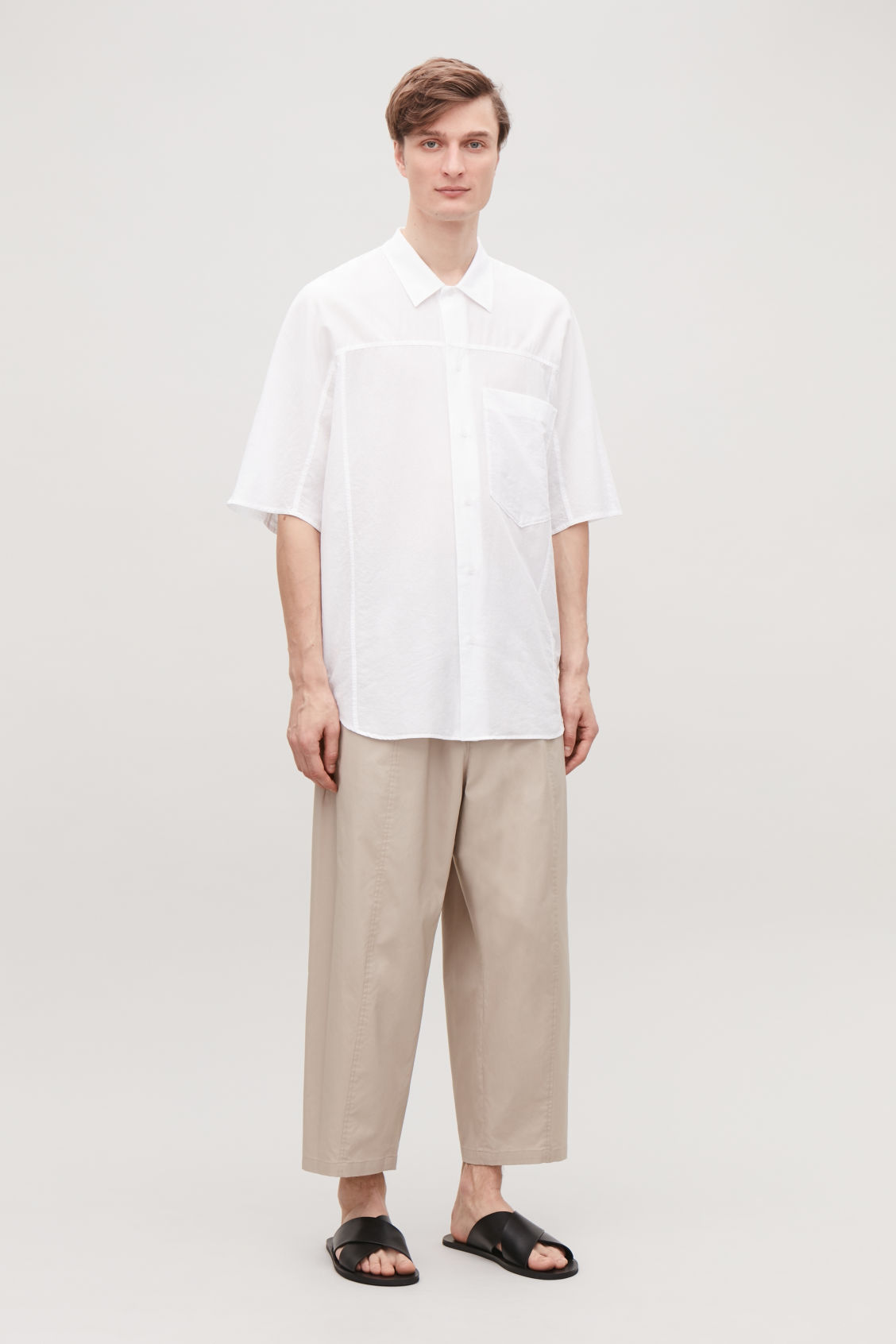 Model front image of Cos oversized light cotton shirt in white