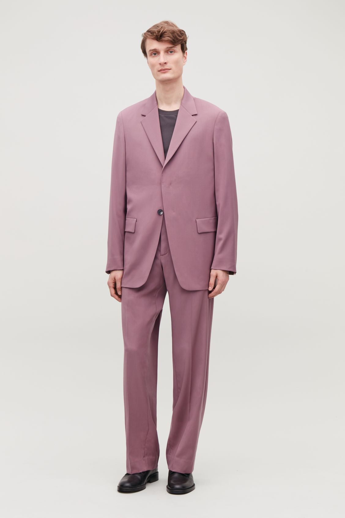 Model front image of Cos relaxed blazer with hidden buttons in purple