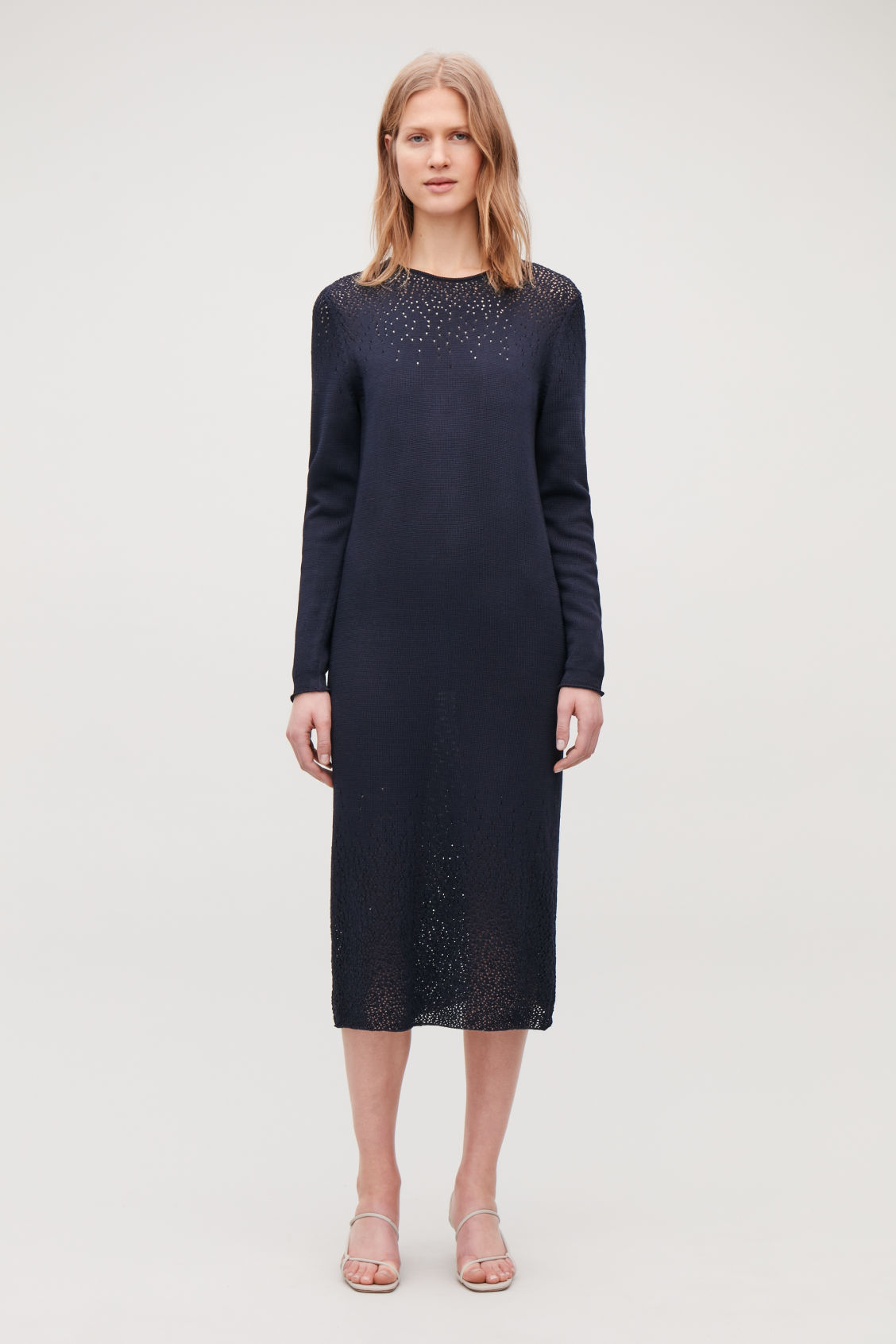 Model front image of Cos gradual pointelle-knit dress in blue