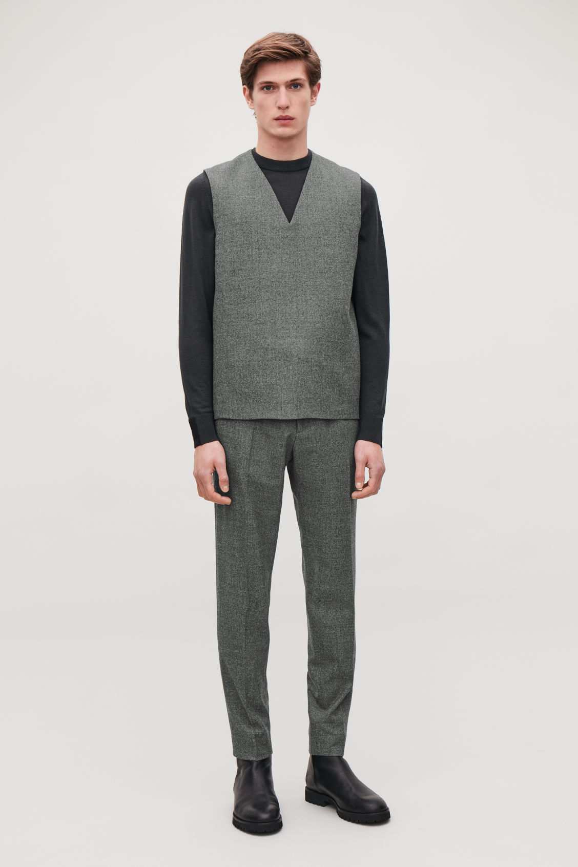 Model front image of Cos woven v-neck vest in grey