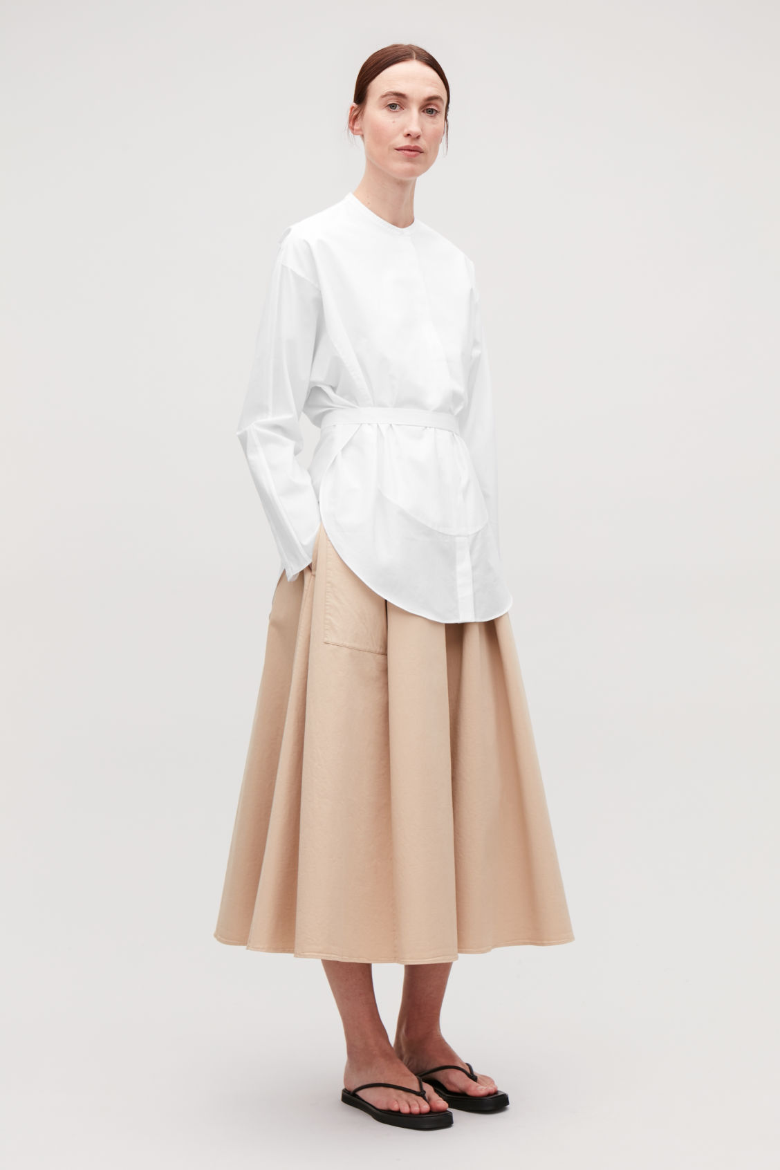 Model front image of Cos tie-waist bib-front shirt in white