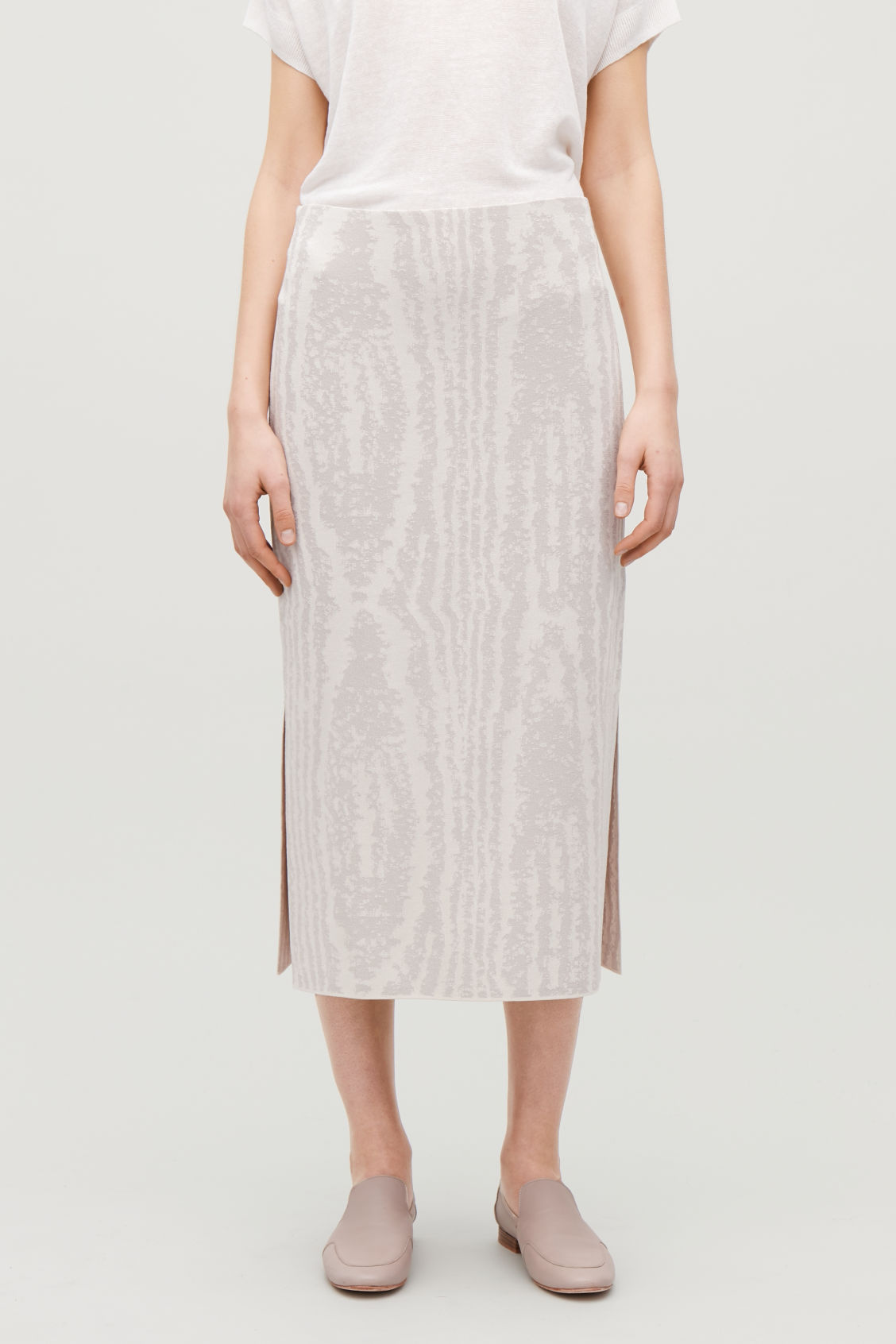Model side image of Cos moire jacquard-knit skirt in beige