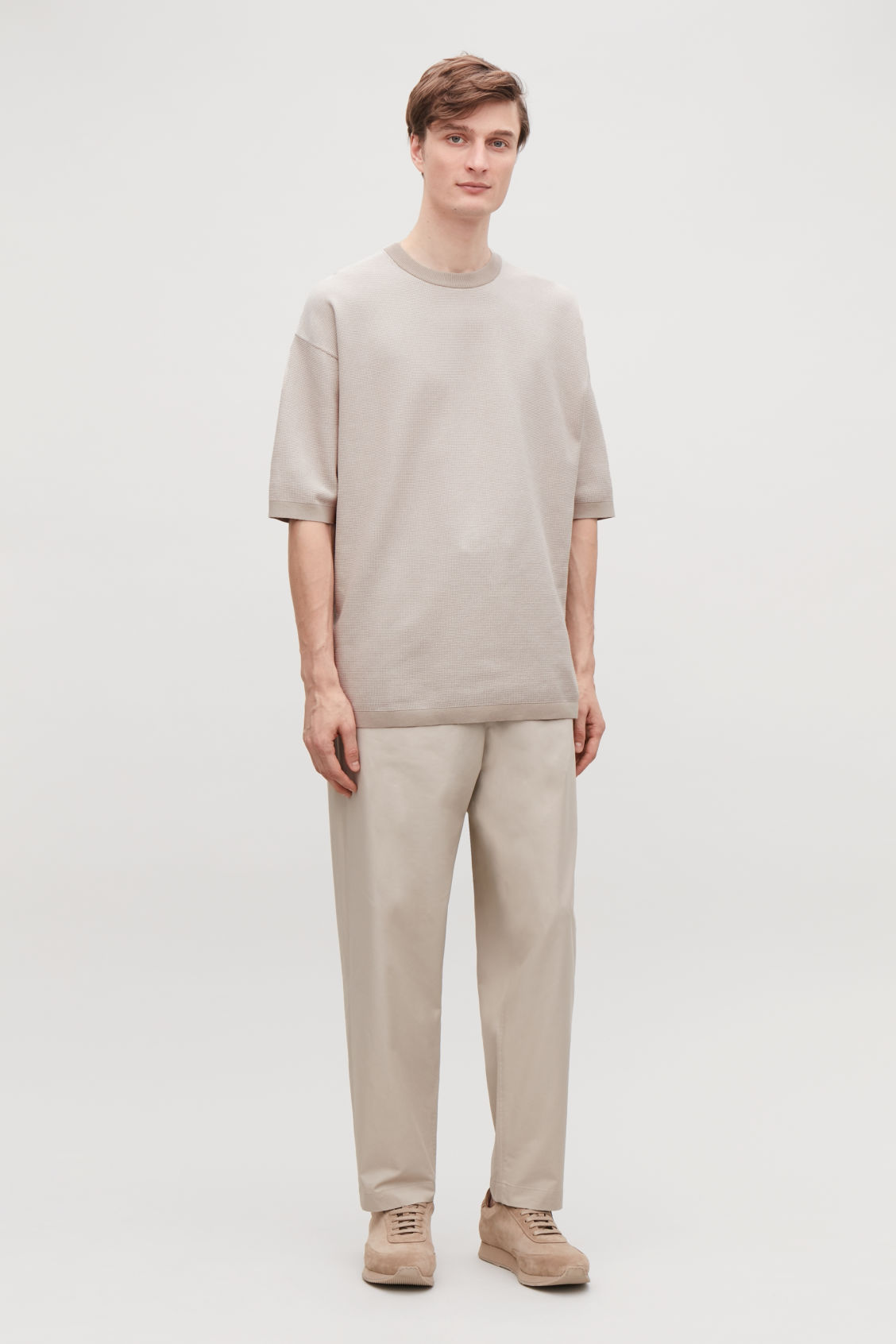 Model front image of Cos oversized knitted t-shirt in brown