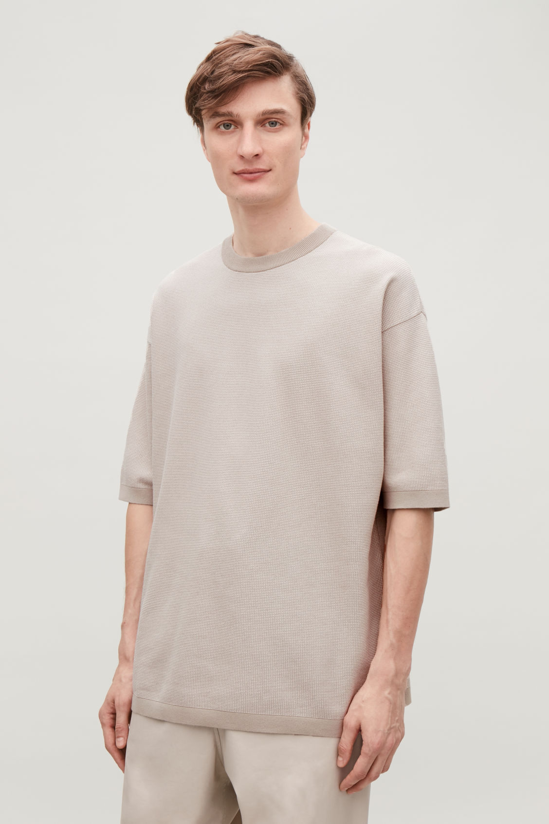 Model side image of Cos oversized knitted t-shirt in brown