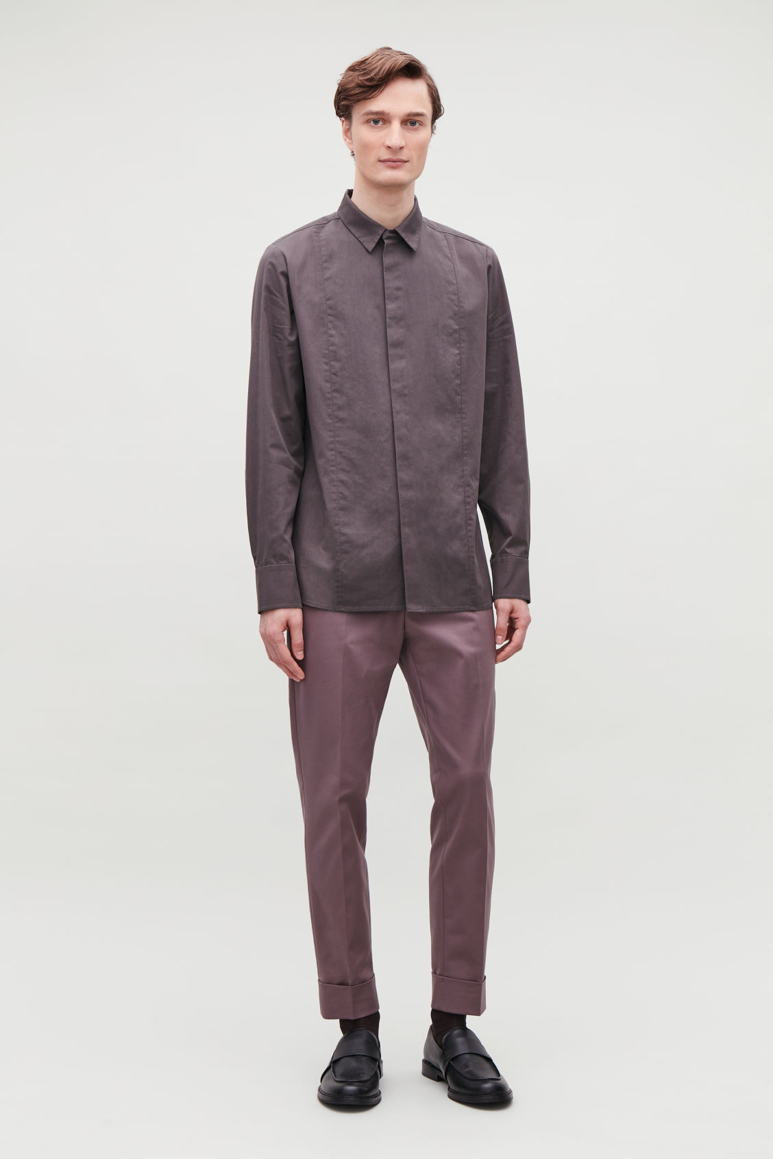Model front image of Cos cotton shirt with seam detailing in purple