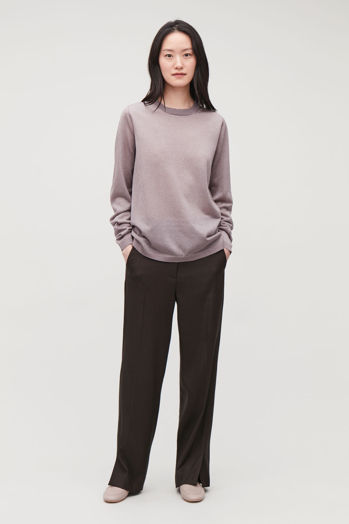 Model front image of Cos sheer long-sleeved knit top  in purple