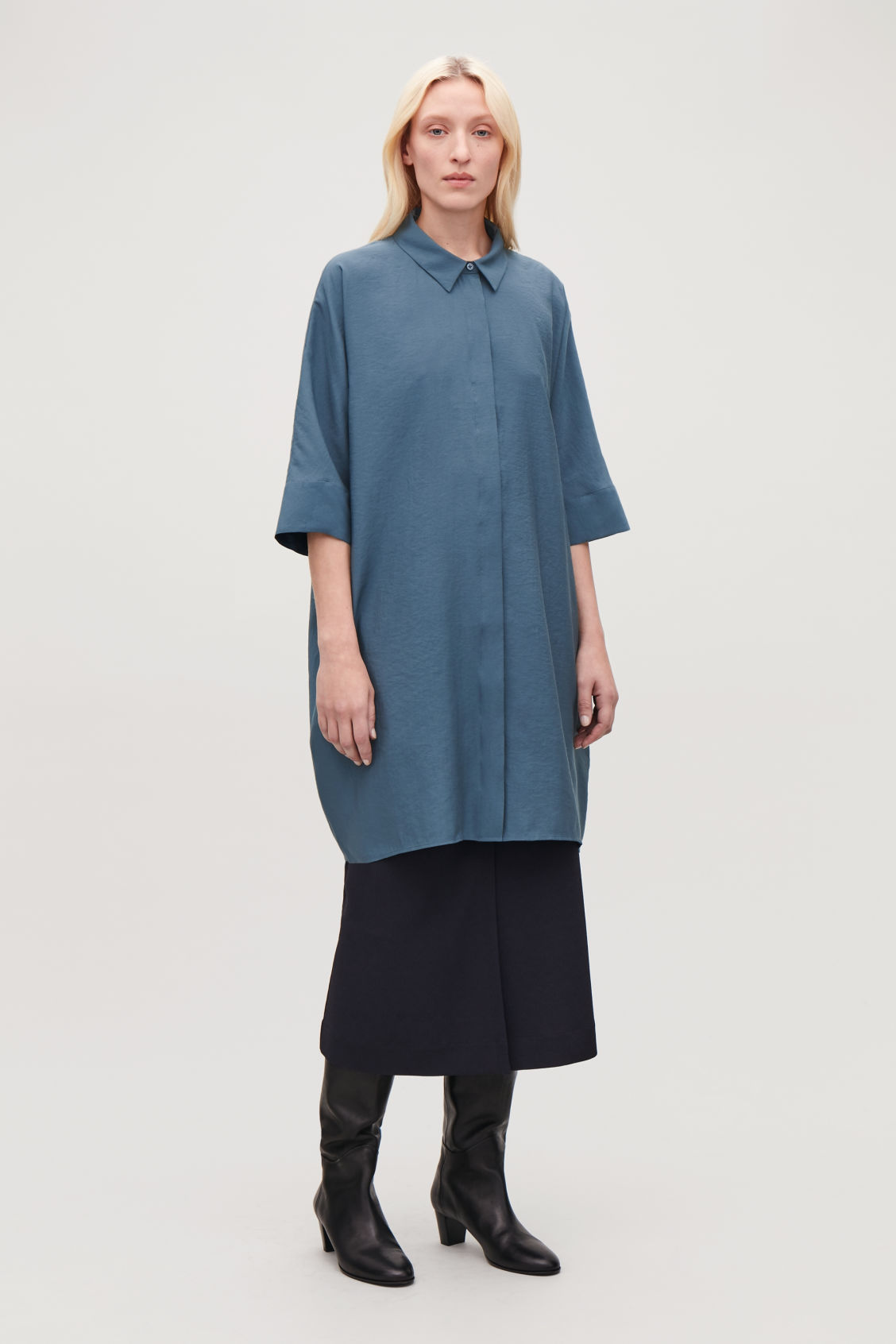 Model front image of Cos crinkled woven shirt dress in blue