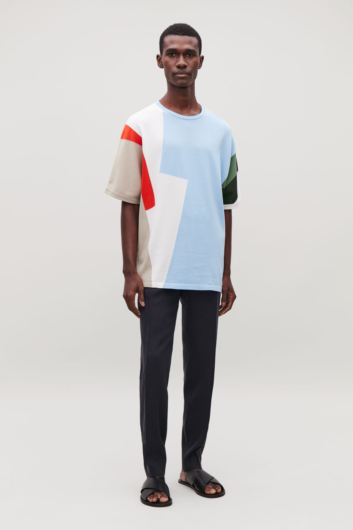 Model front image of Cos intarsia-knit t-shirt in white