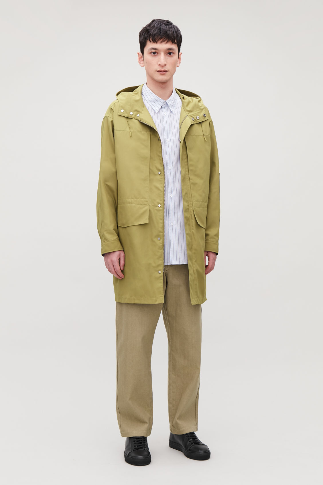 Model front image of Cos hooded nylon parka  in yellow