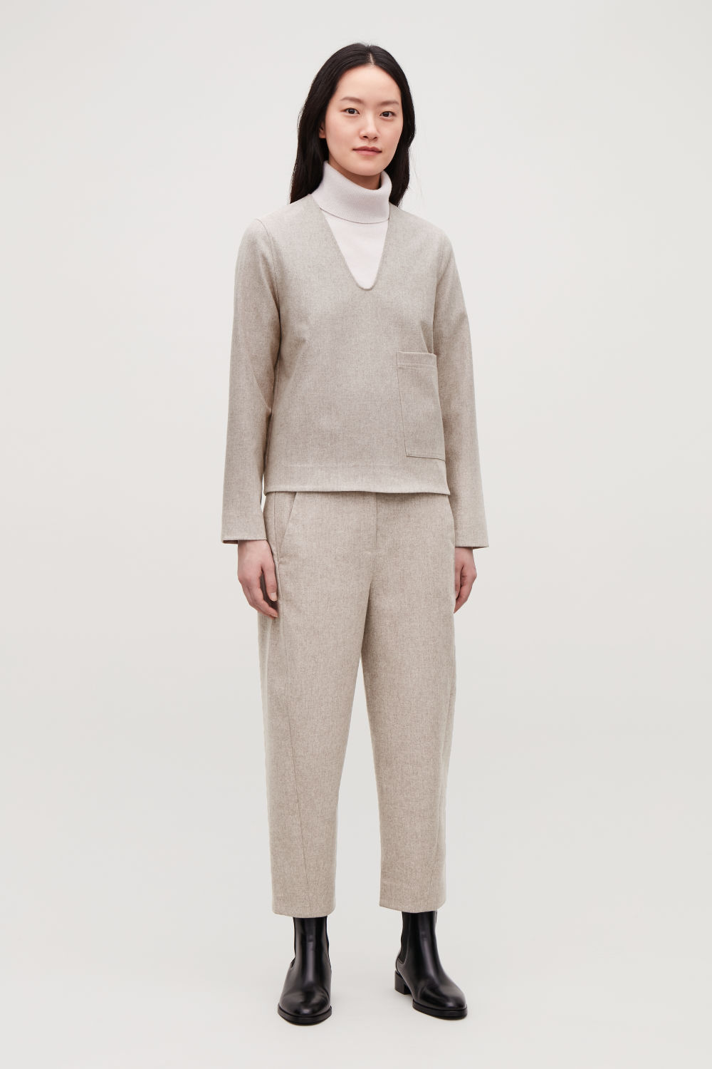 WOOL TWISTED-SEAM TROUSERS