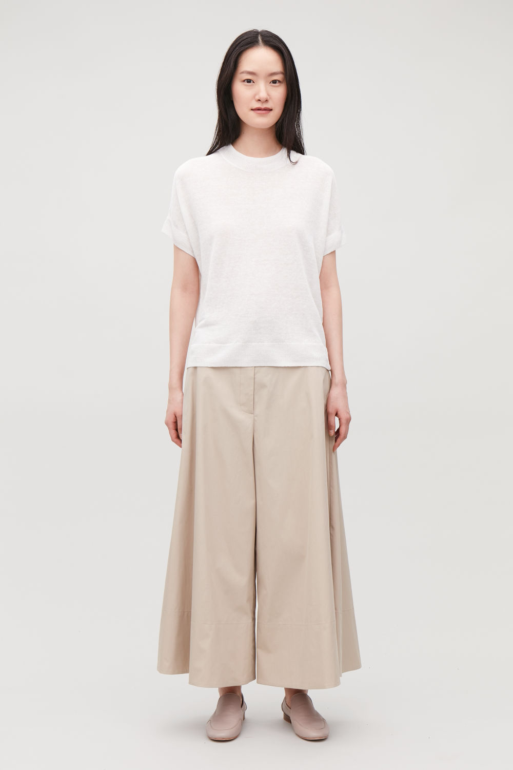 ELASTIC-WAIST WIDE-LEG TROUSERS