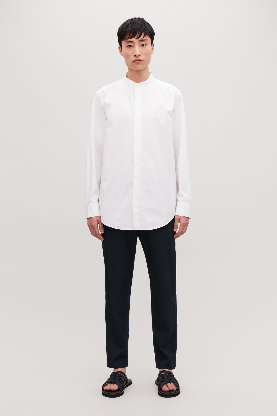 Model front image of Cos stepped-hem grandad shirt in white