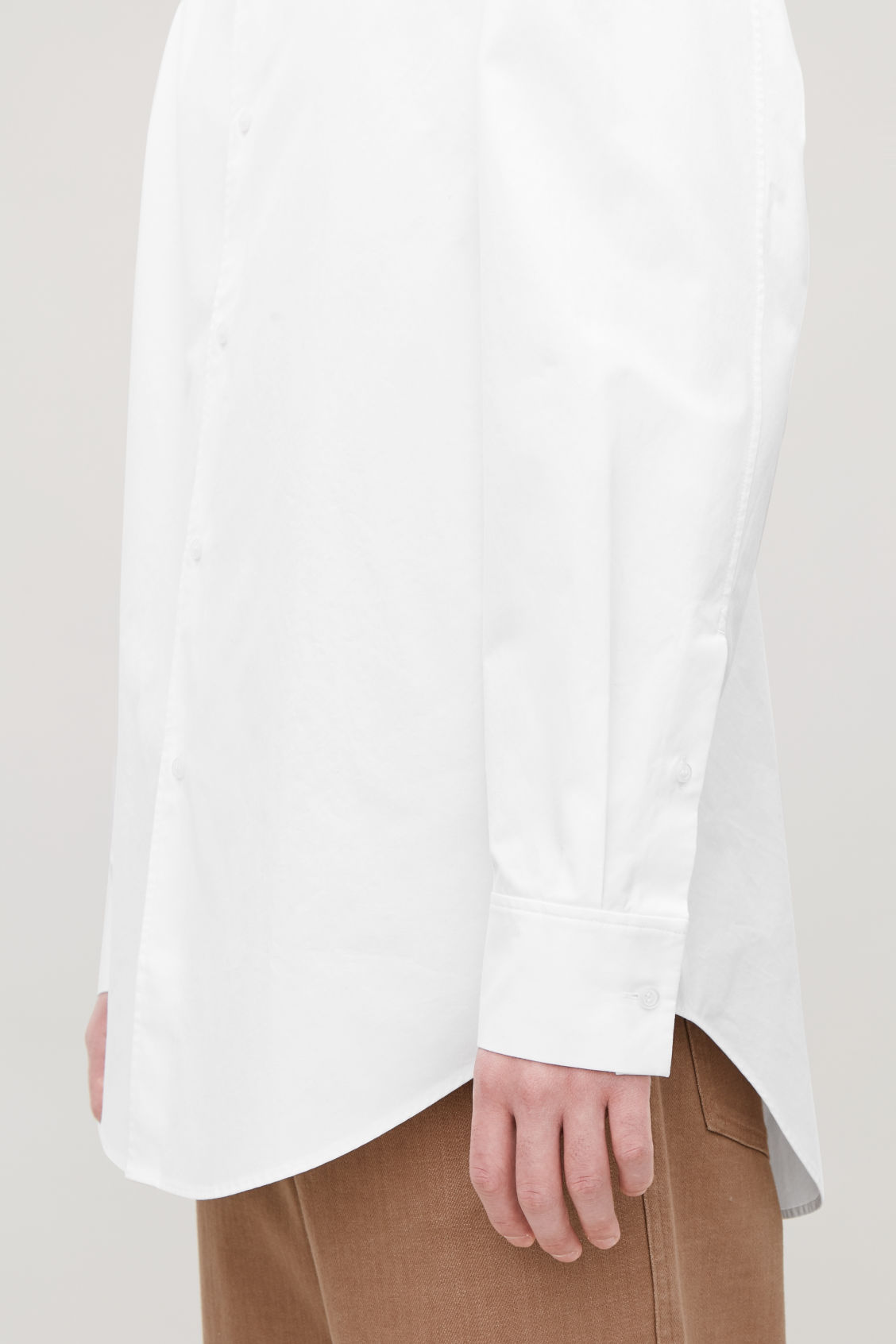 Model side image of Cos stepped-hem grandad shirt in white