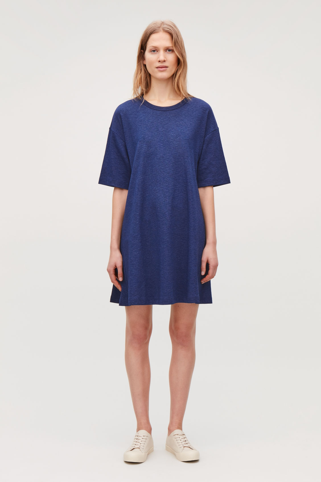Model front image of Cos casual jersey a-line dress in blue