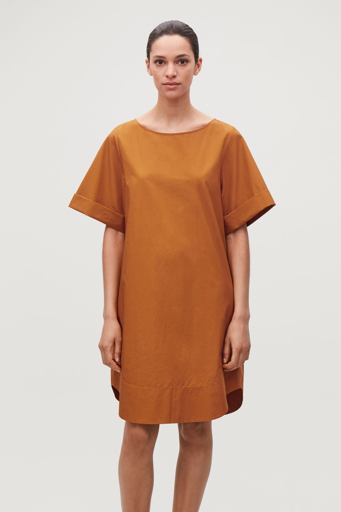 Model side image of Cos lightweight-cotton a-line dress in yellow