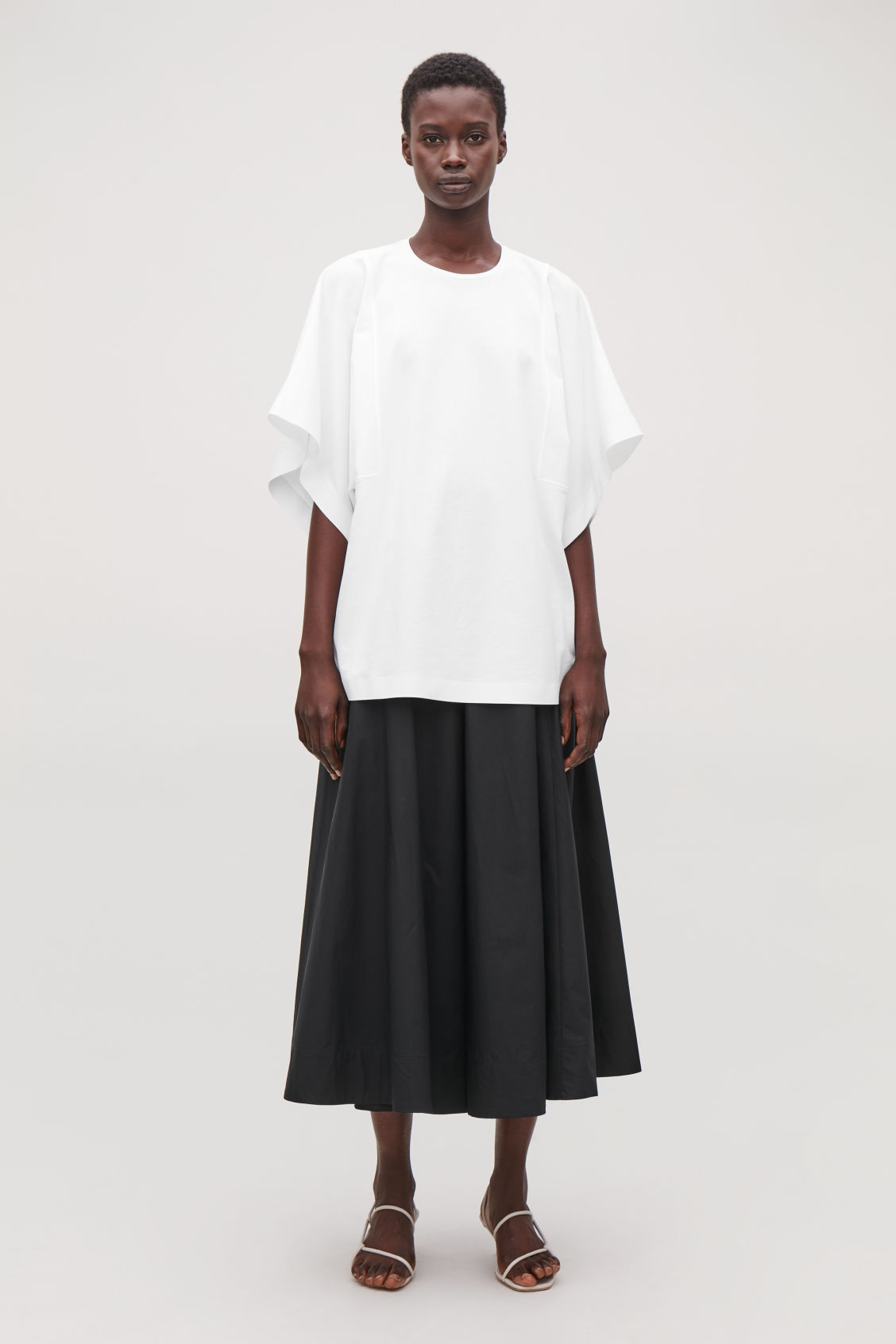 Model front image of Cos kimono-sleeved jersey top in white