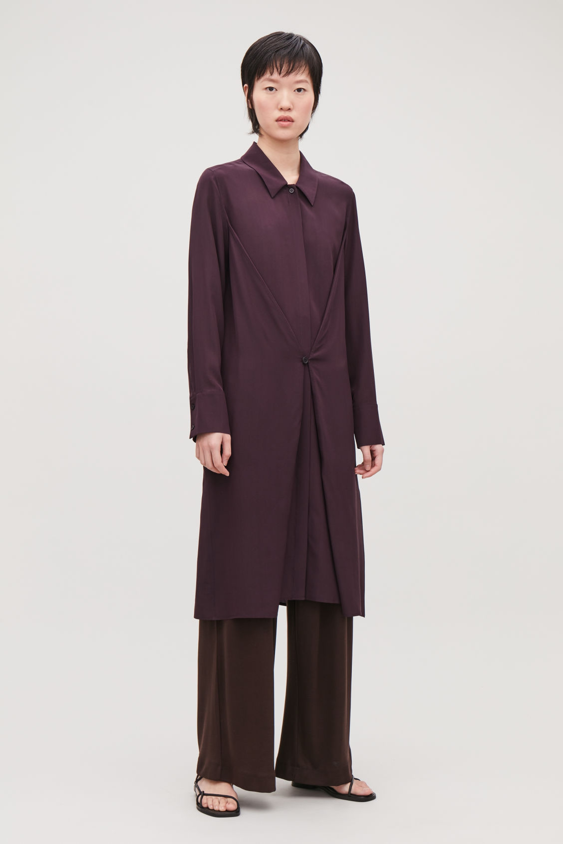 Model front image of Cos button-detailed silk shirt dress in burgundy