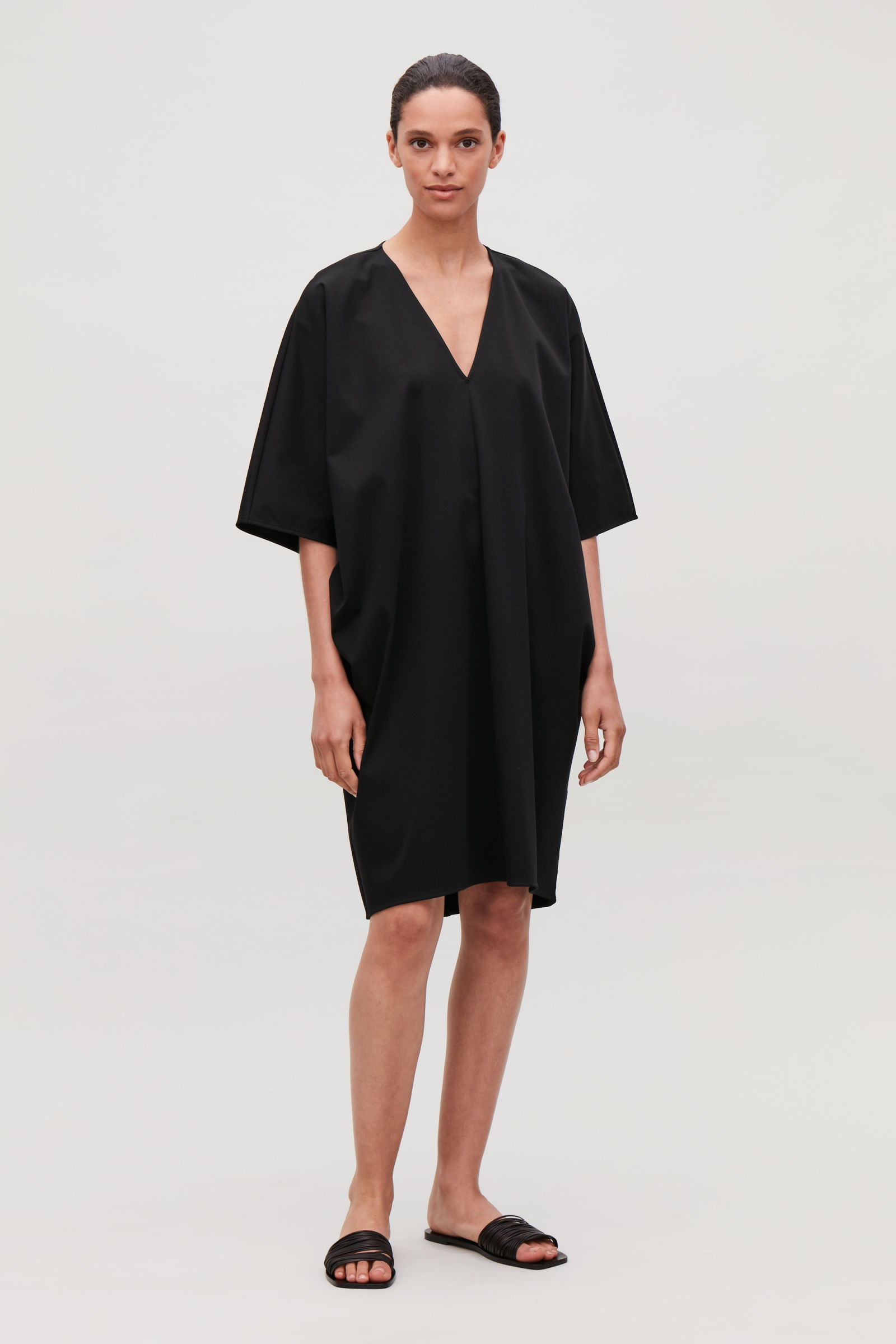 Cos Oversized Kimono-shape Dress In Black