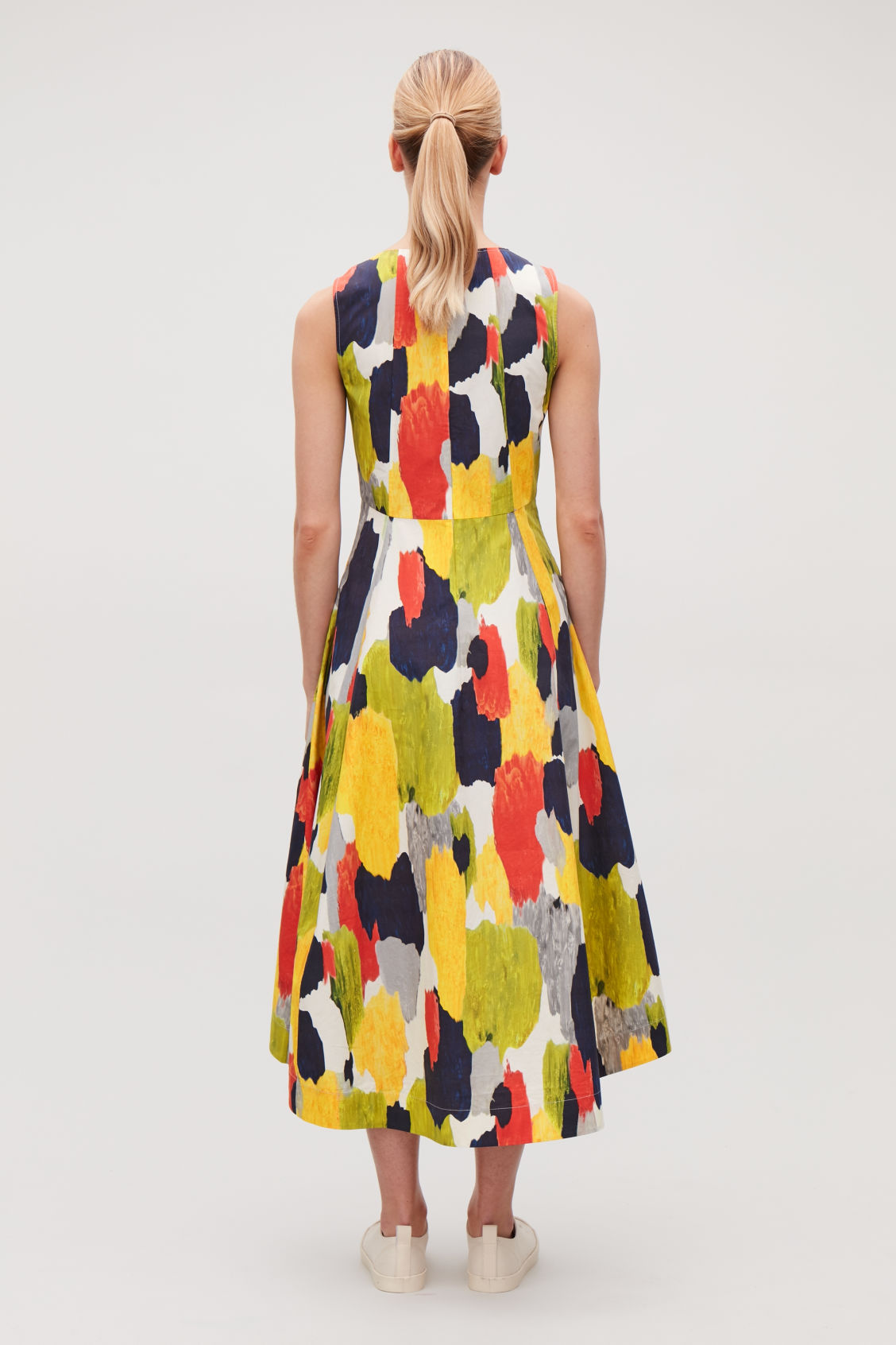 Model side image of Cos multicoloured long dress in orange