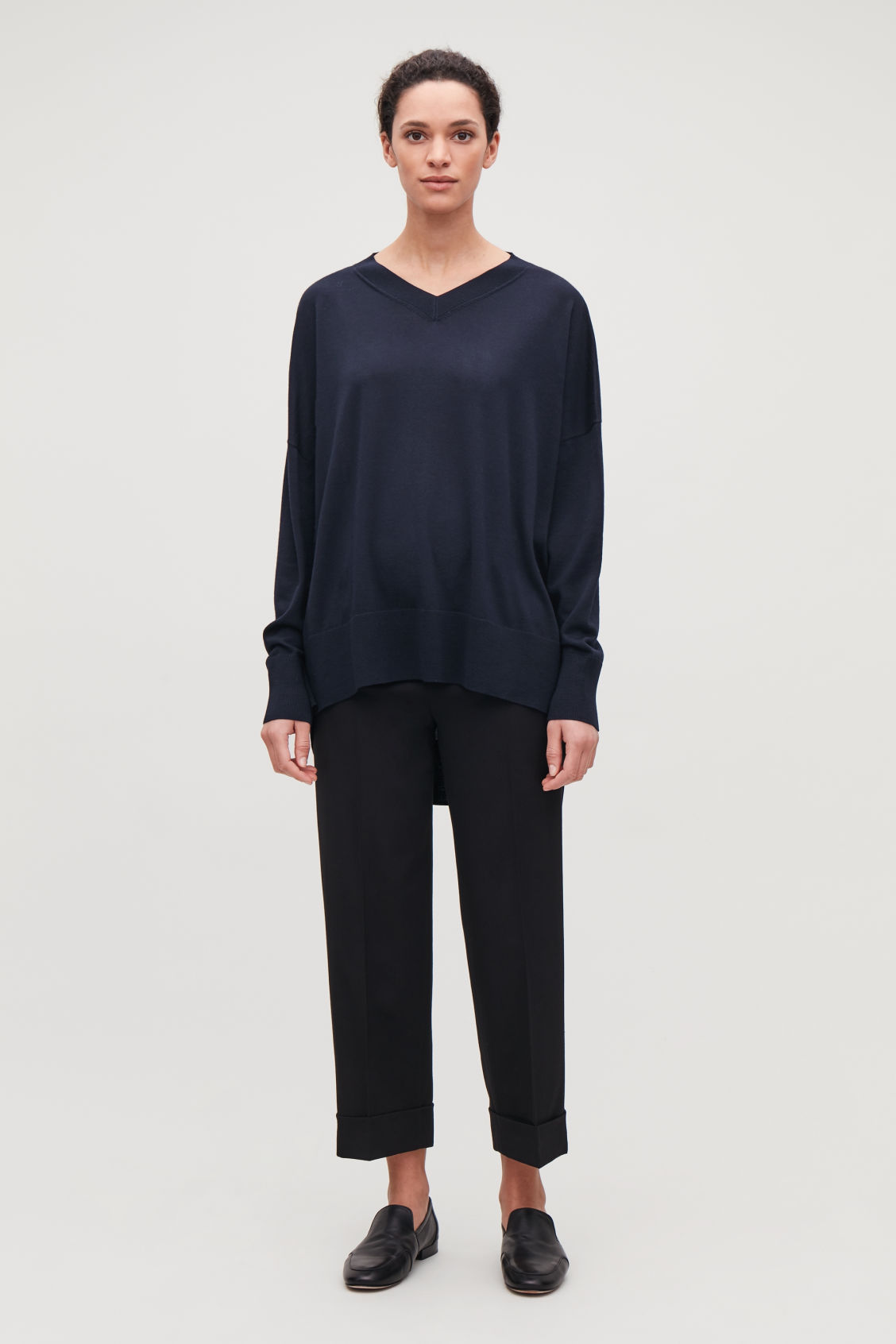 Model front image of Cos draped merino v-neck jumper in blue