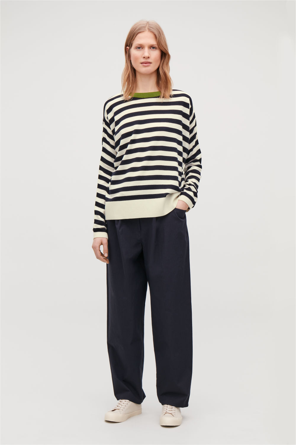 DRAPED STRIPED MERINO JUMPER