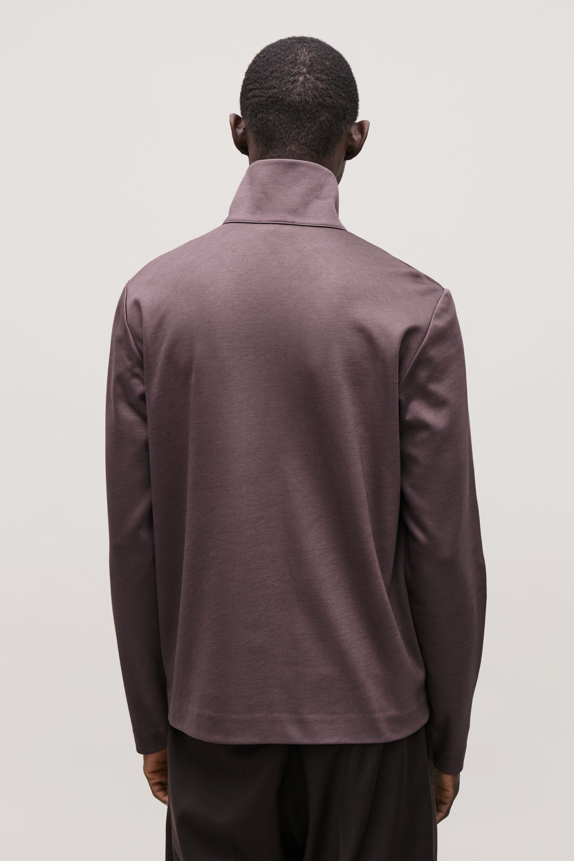 Model side image of Cos high-neck cotton cardigan in purple