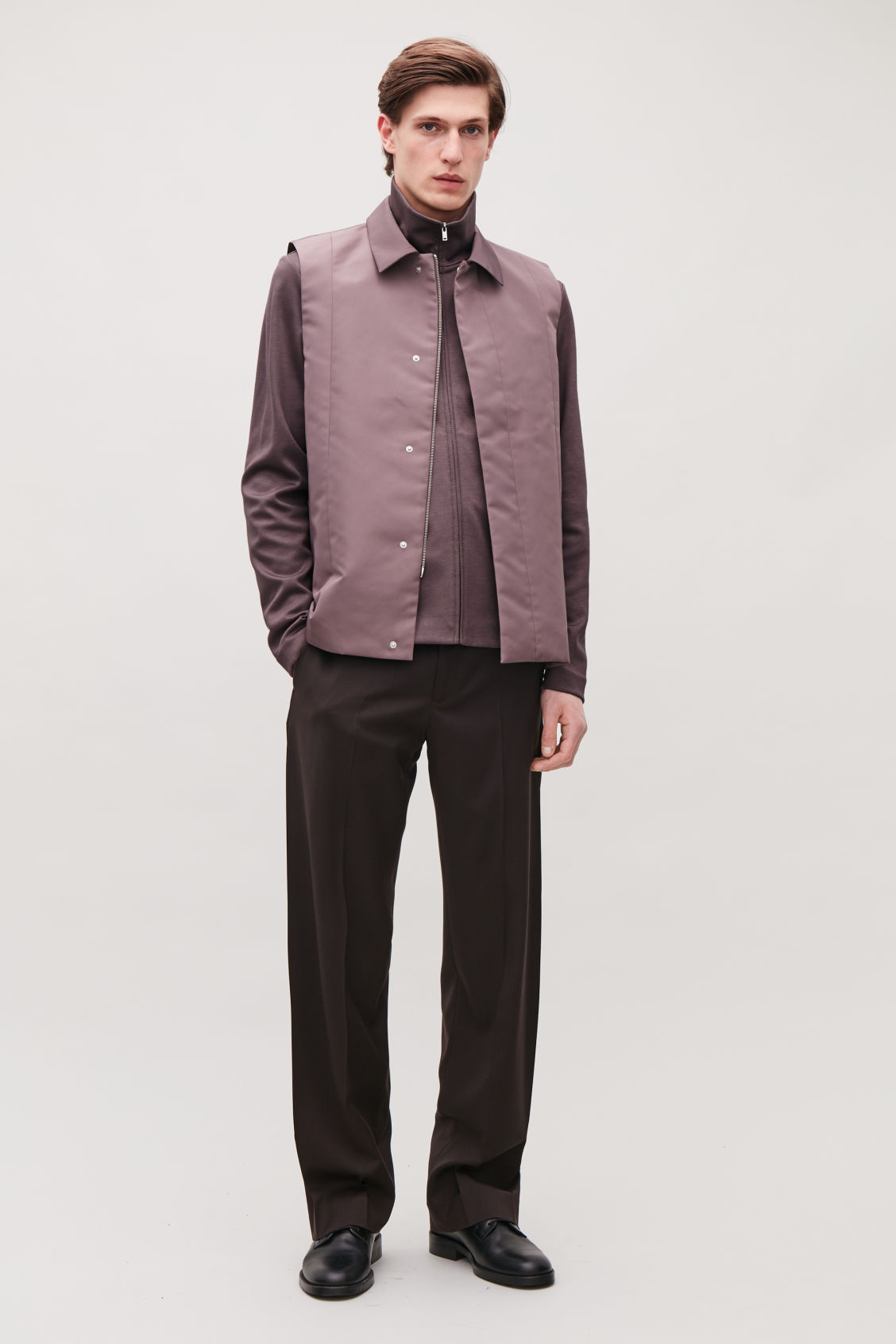 Model side image of Cos high-neck cotton jacket in purple