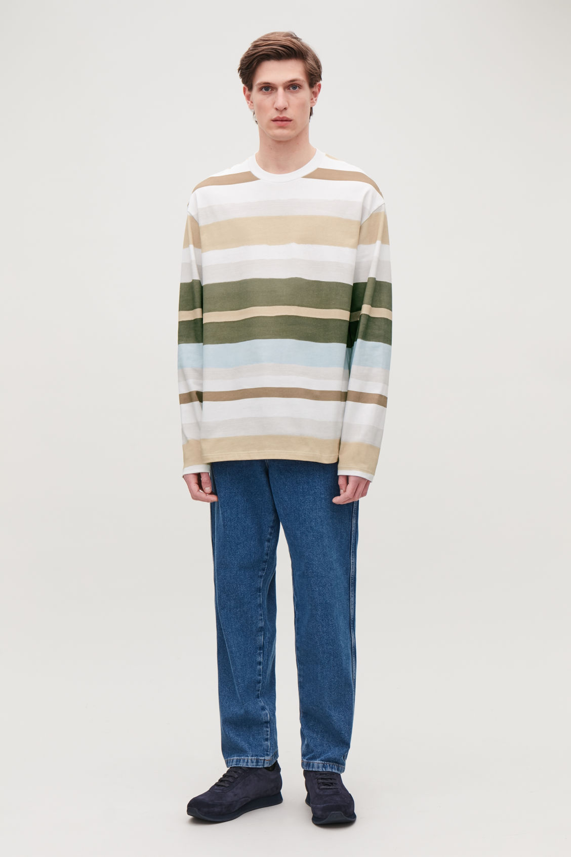 Model front image of Cos long-sleeved multi-striped t-shirt in blue