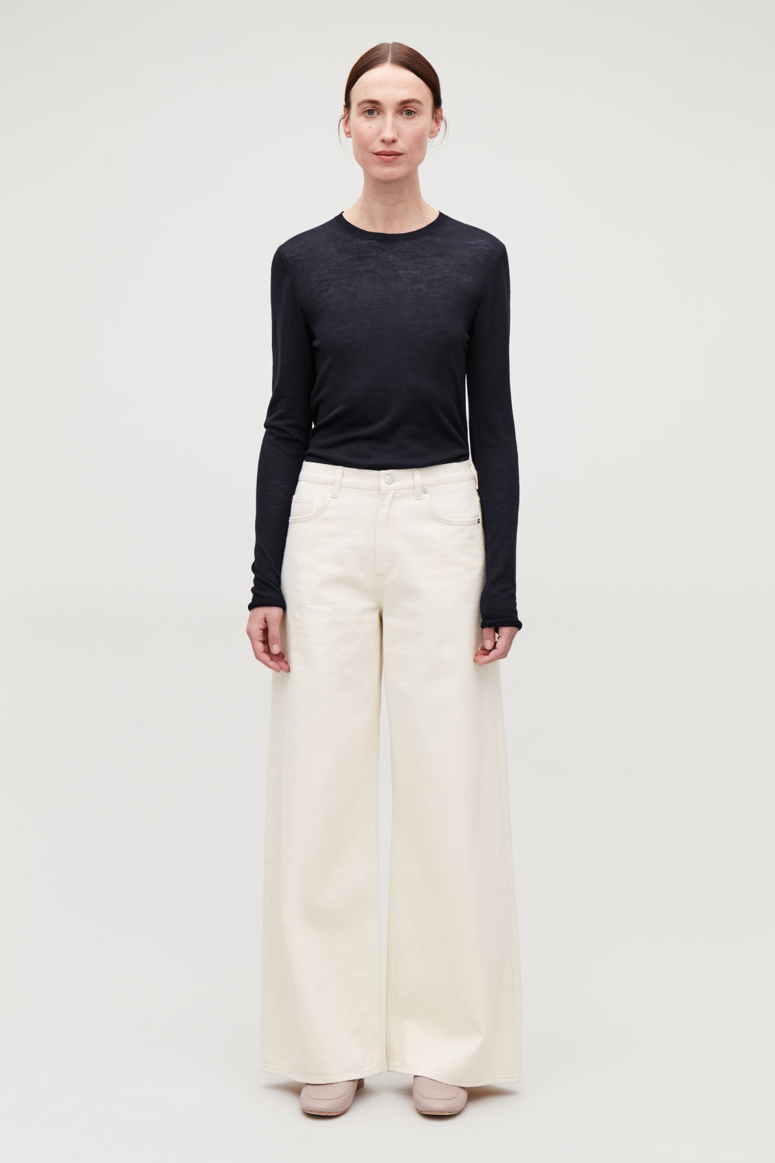 Model front image of Cos wide leg jeans in white