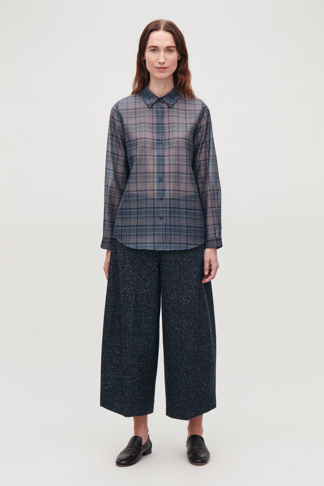 Model front image of Cos loop-stitched rounded wool culottes in blue