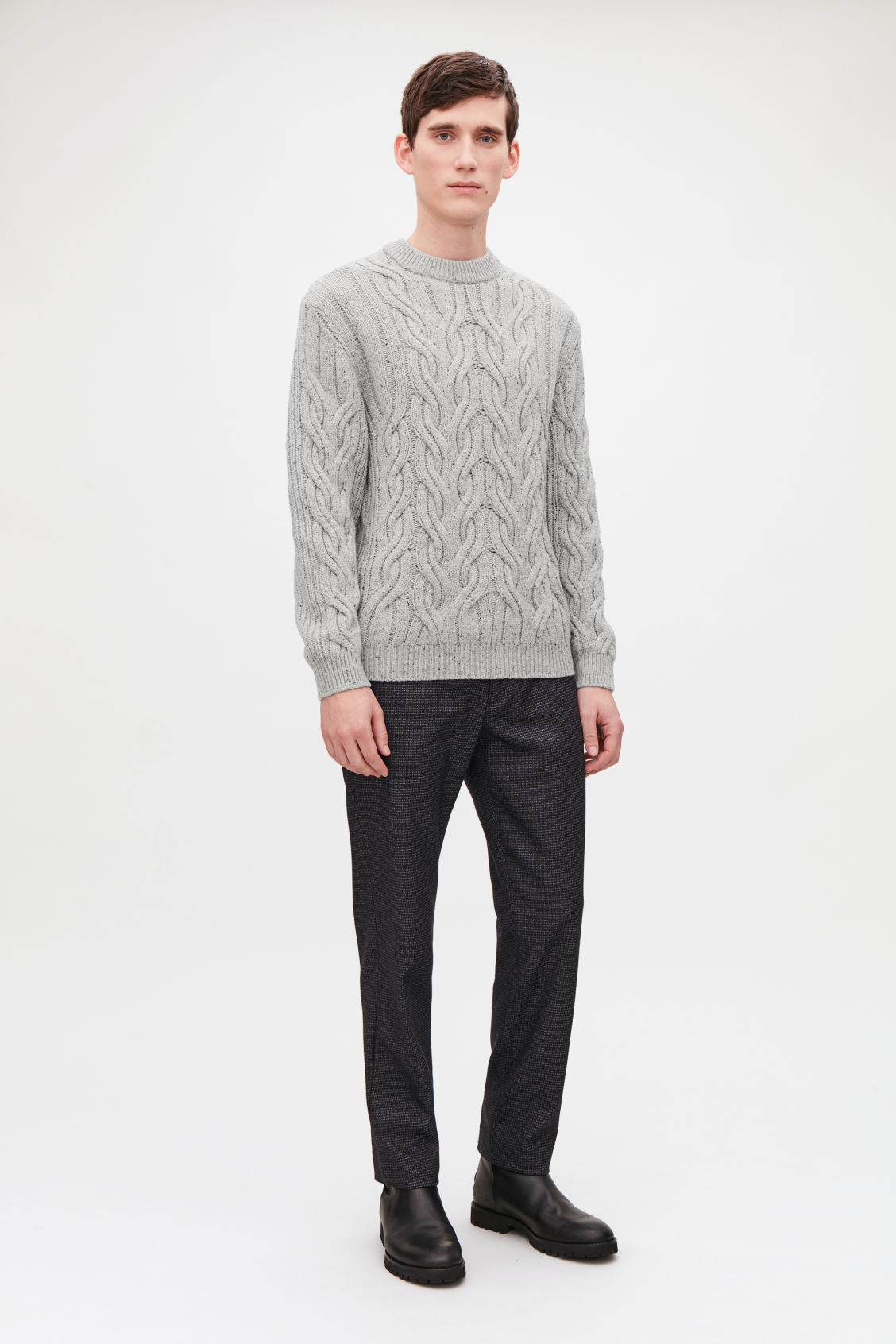 Model front image of Cos speckled cable-knit wool jumper in grey