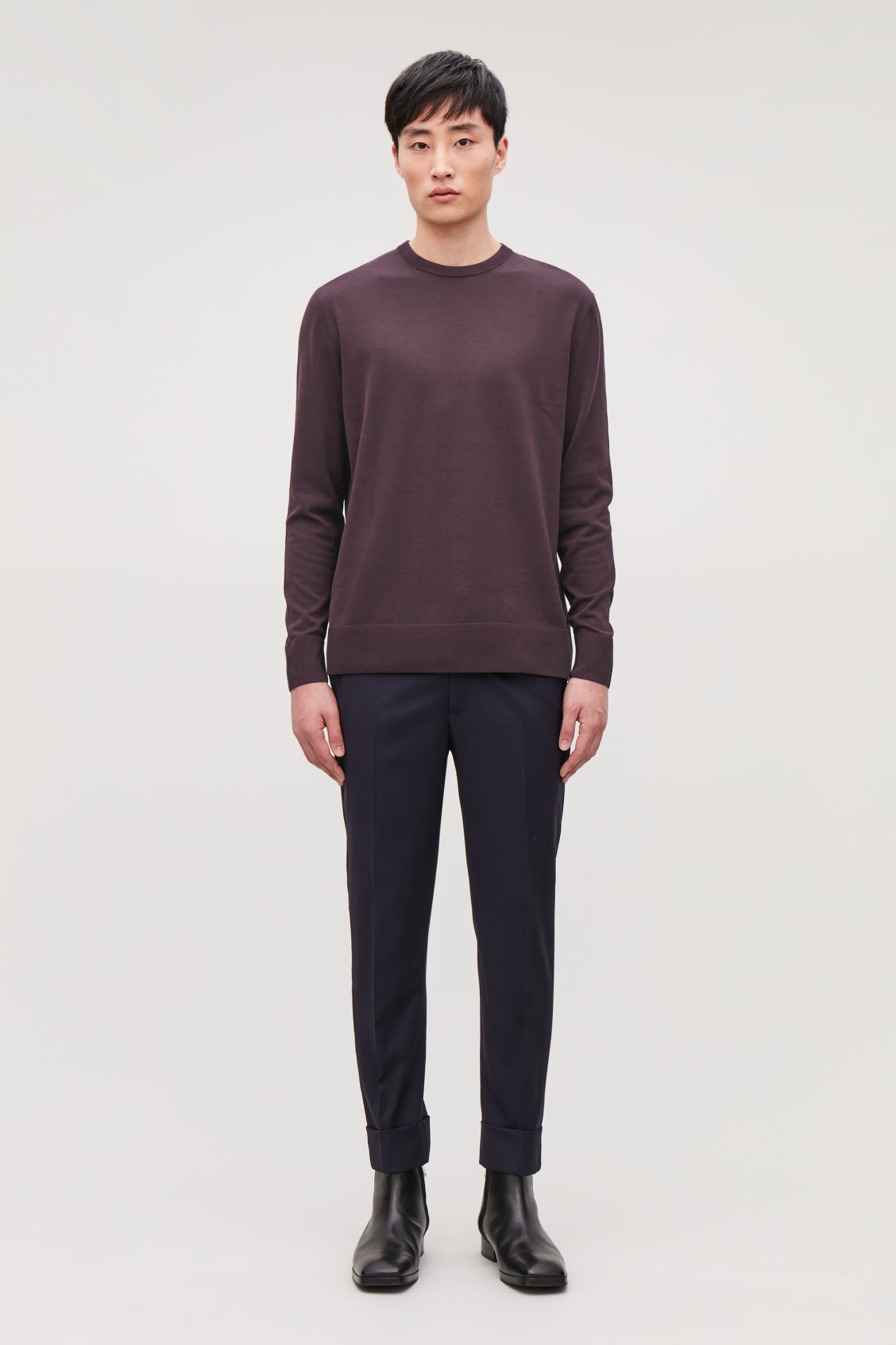 Model front image of Cos mercerised-cotton jumper in purple