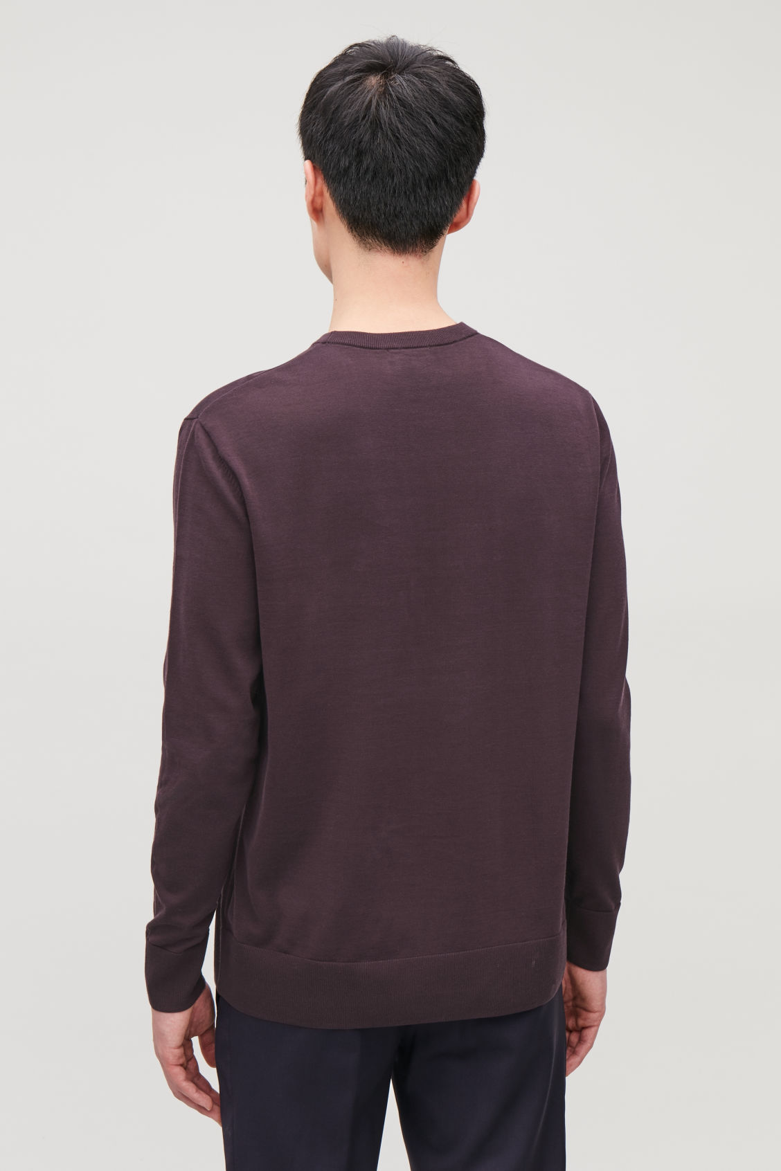 Model side image of Cos mercerised-cotton jumper in purple