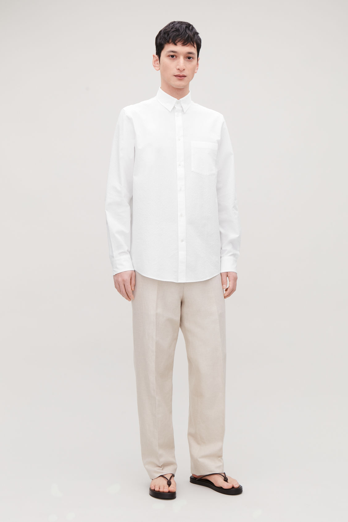 Model front image of Cos cotton-seersucker shirt  in white