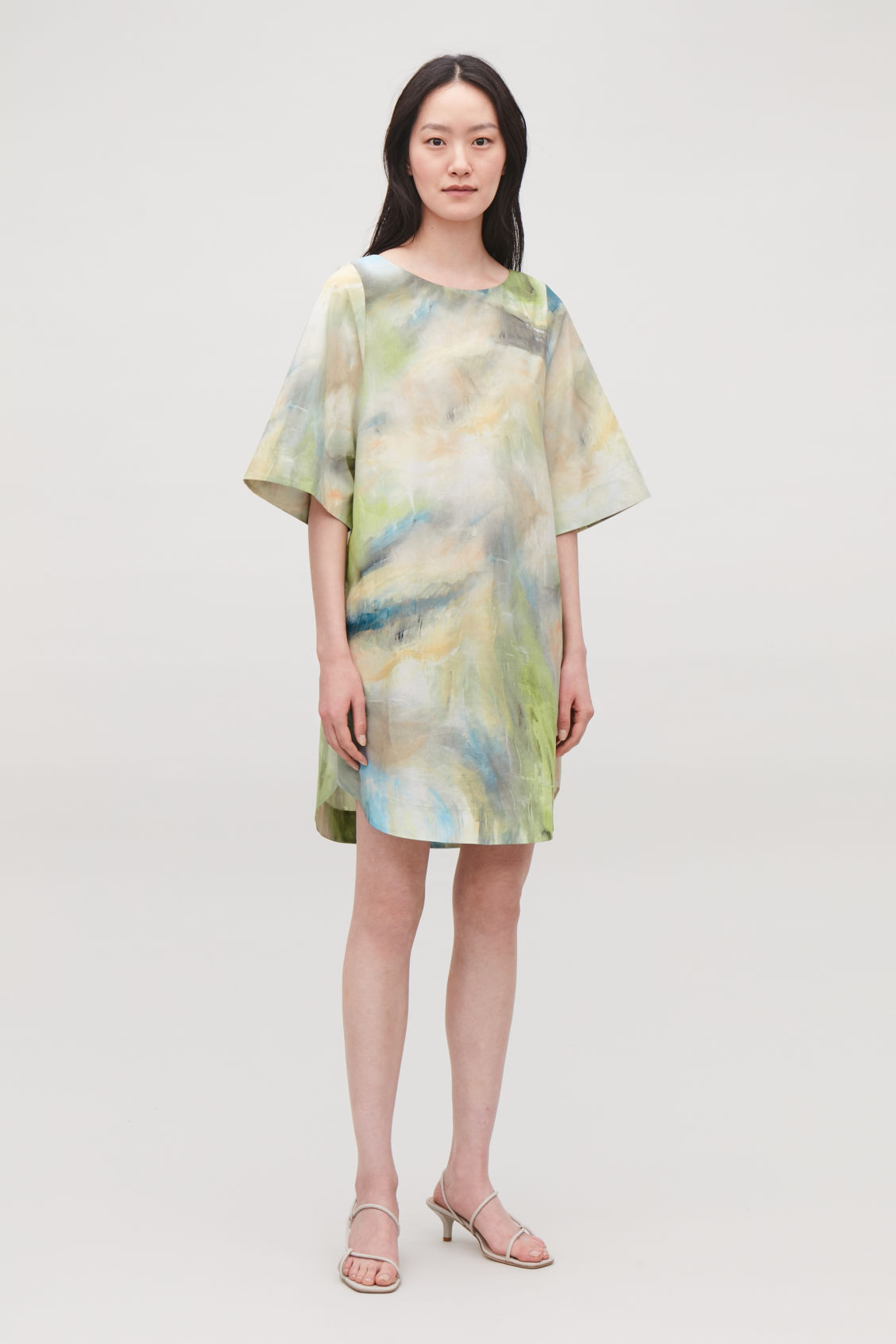 Model front image of Cos brush-stroke printed dress in green