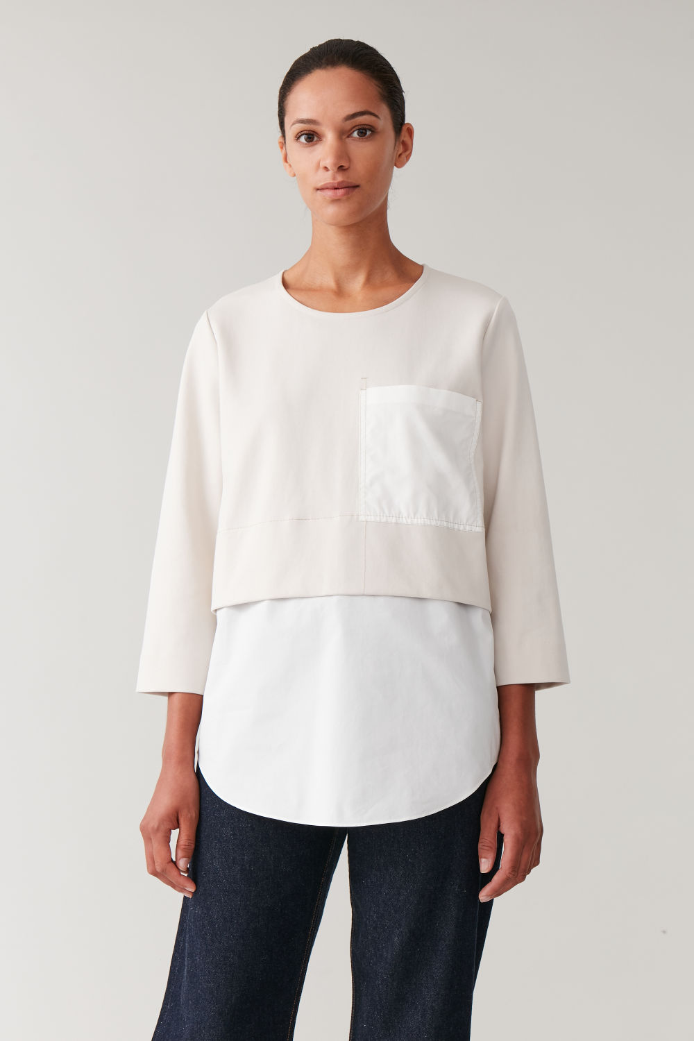 Oversized Woven Jersey Top by Cos
