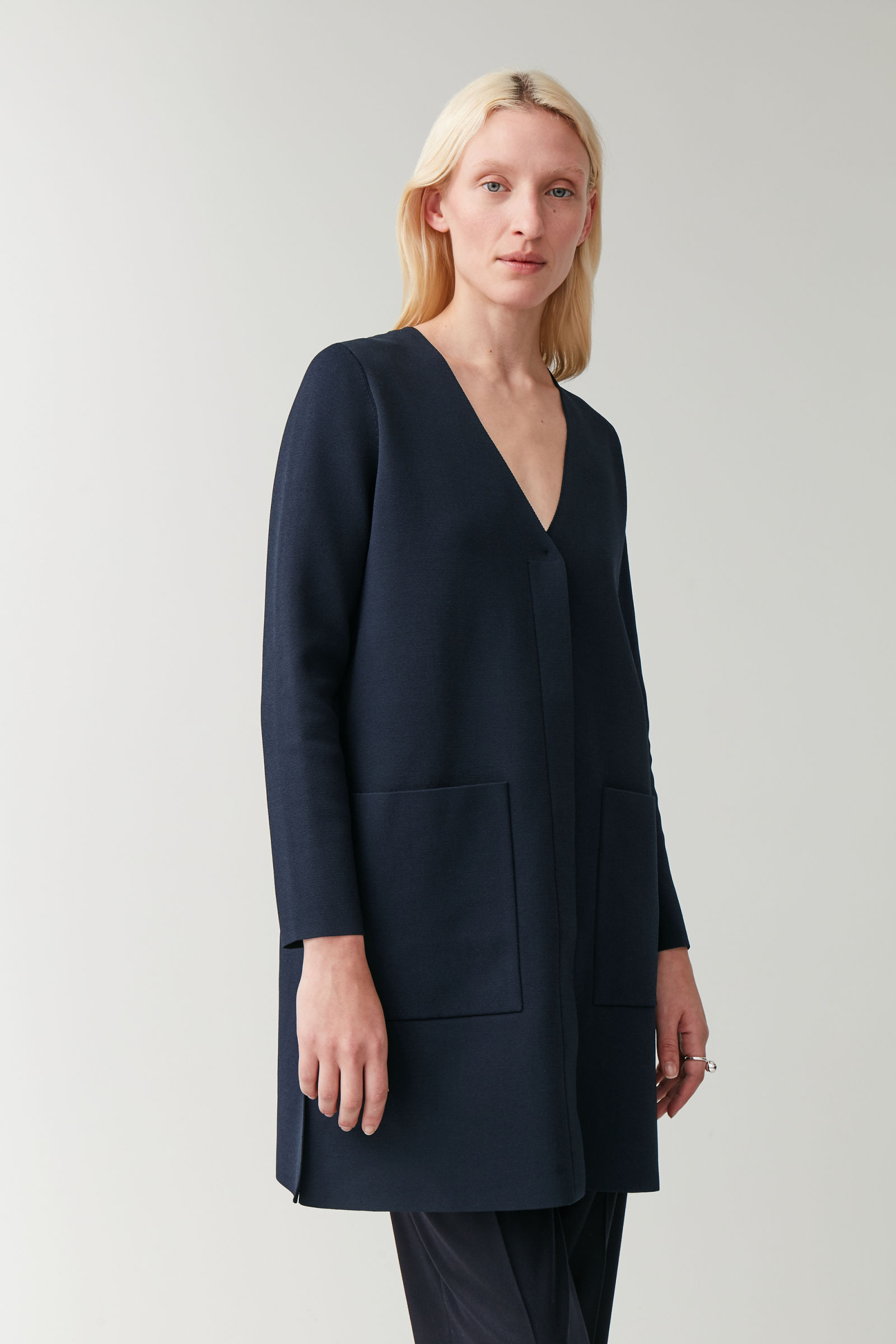 LONG KNITTED CARDIGAN - navy - Cardigans - COS US