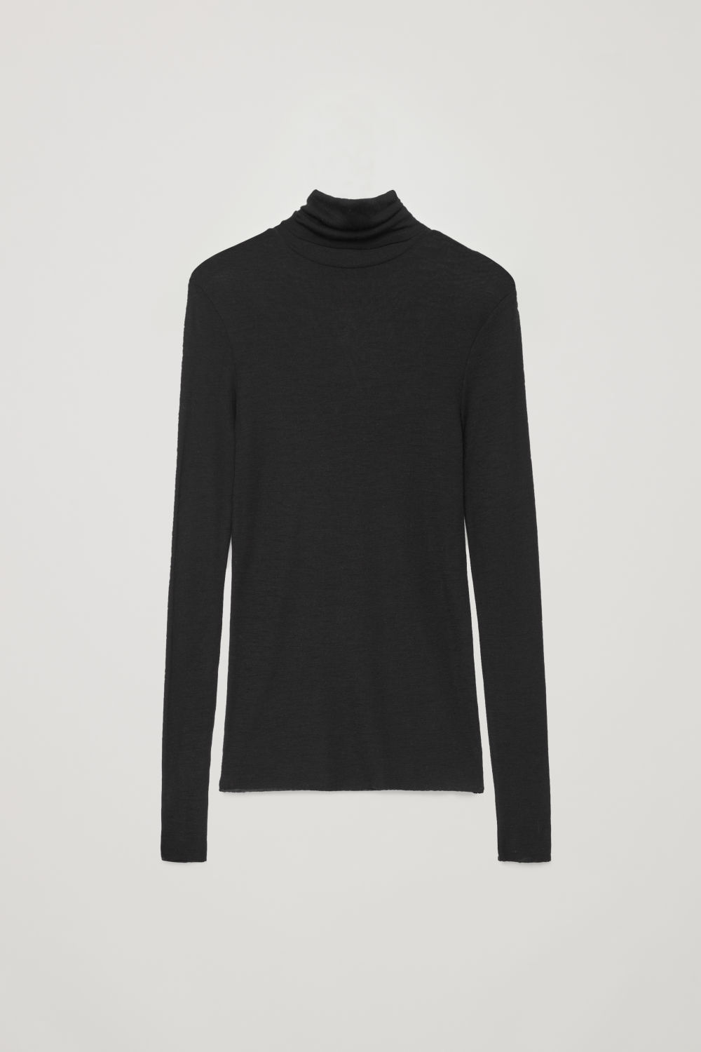 Front image of Cos roll-neck wool top in black