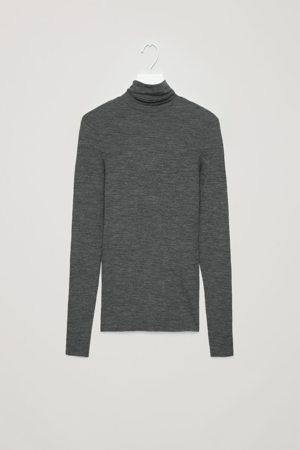 Front image of Cos fine roll-neck wool top in grey