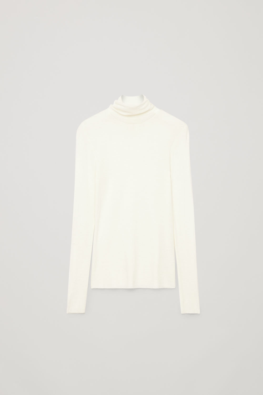 Front image of Cos fine roll-neck wool top in white
