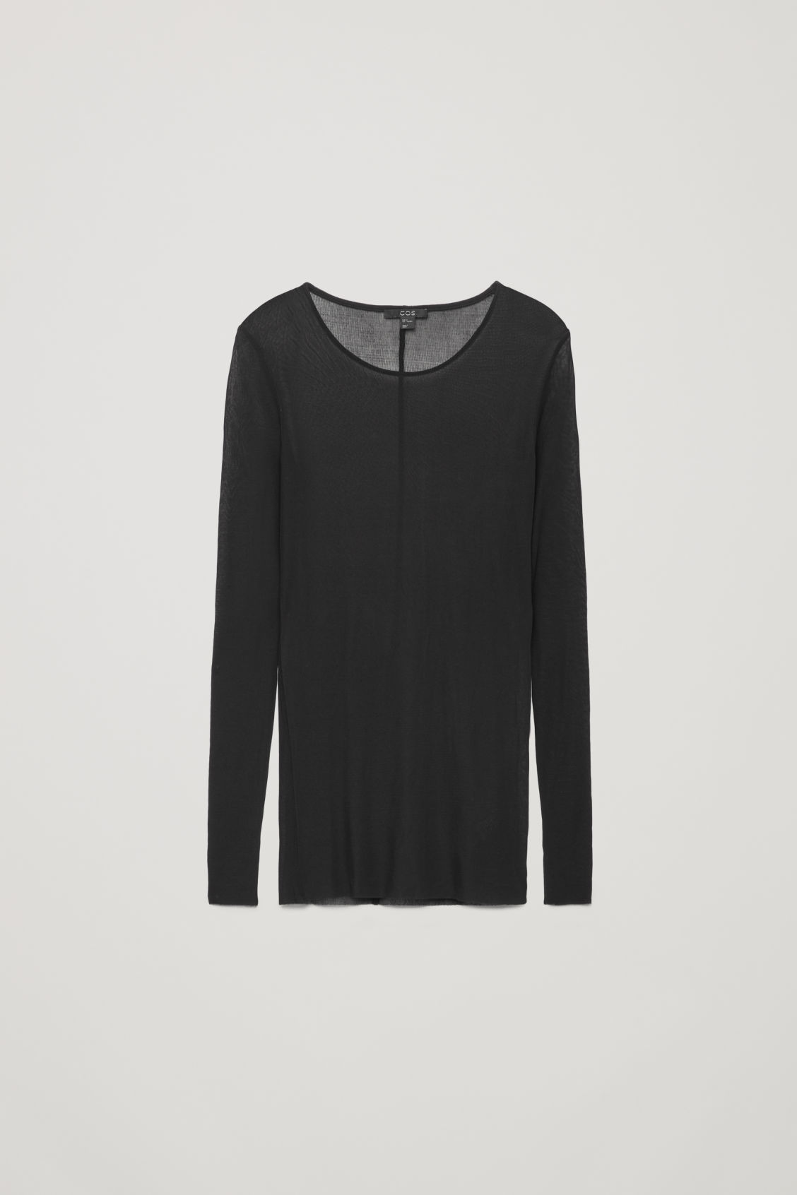 Front image of Cos silk jersey top in black
