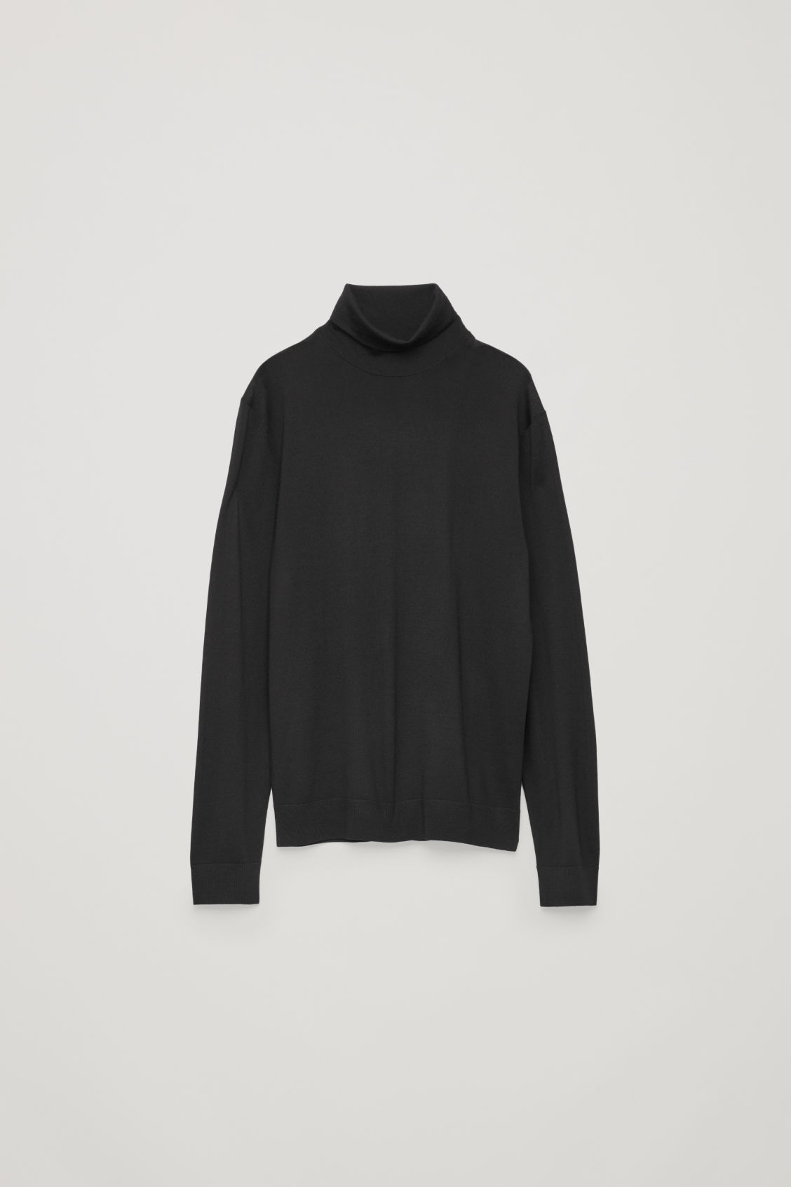 Front image of Cos merino roll-neck jumper in black