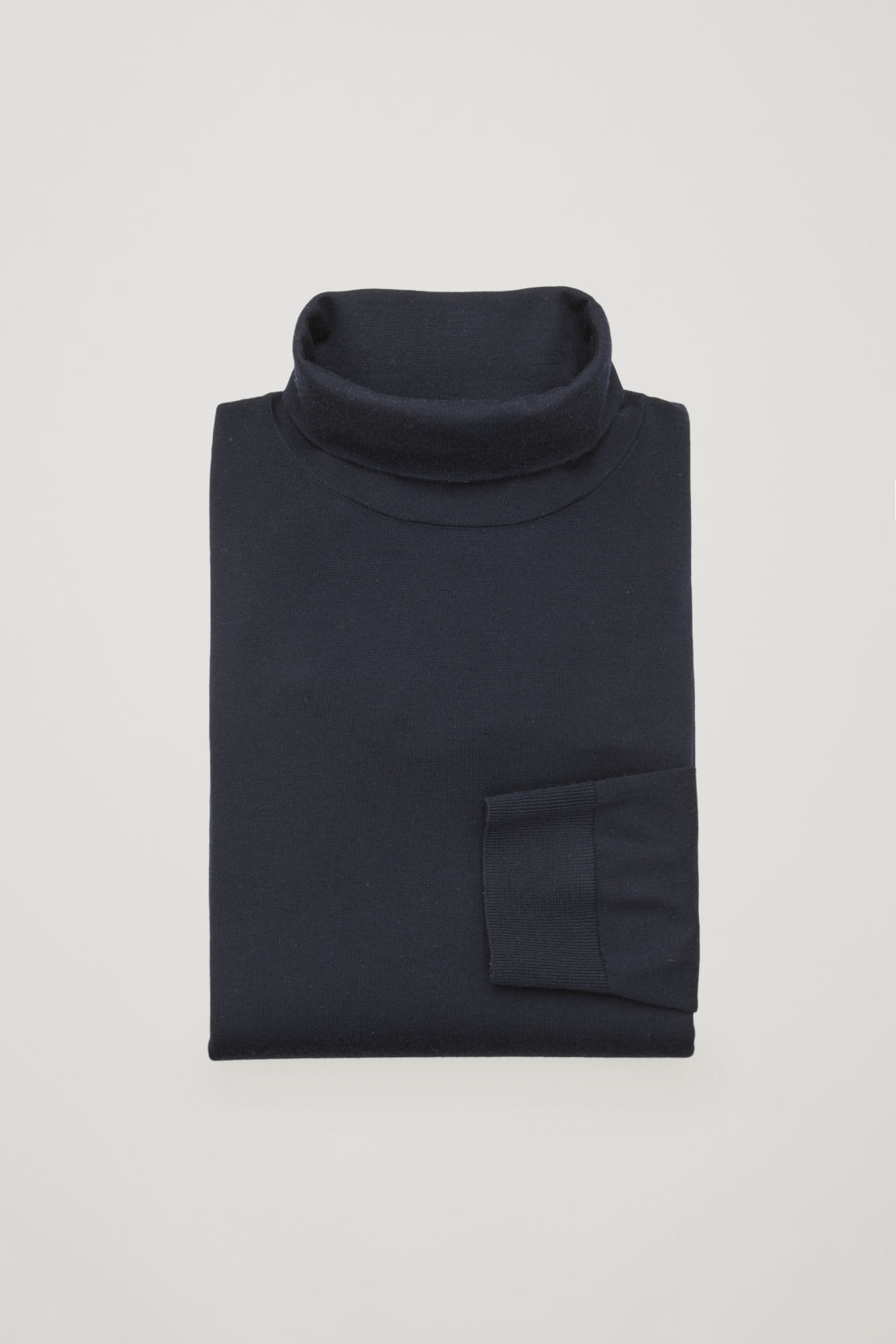 Side image of Cos merino roll-neck jumper in blue