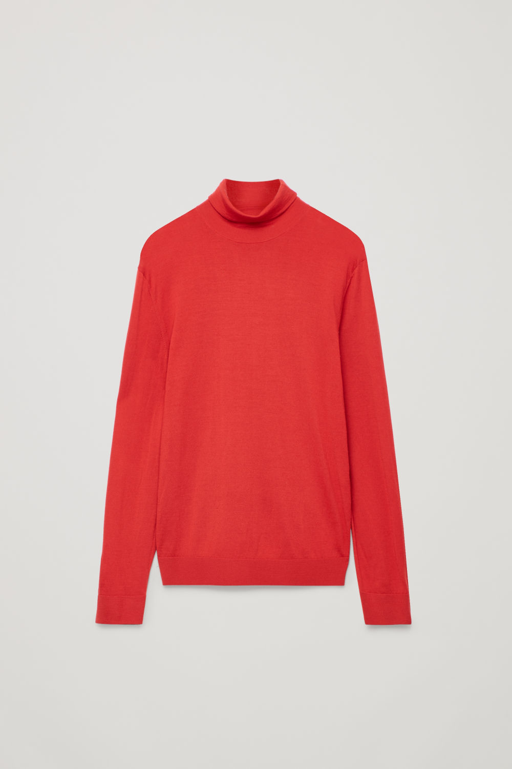 Front image of Cos merino roll-neck jumper in red