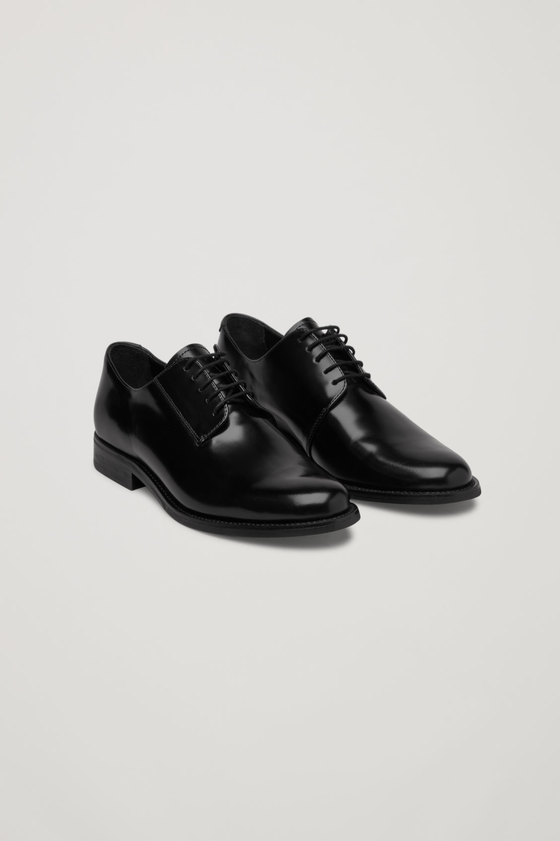 Front image of Cos lace-up leather shoes in black