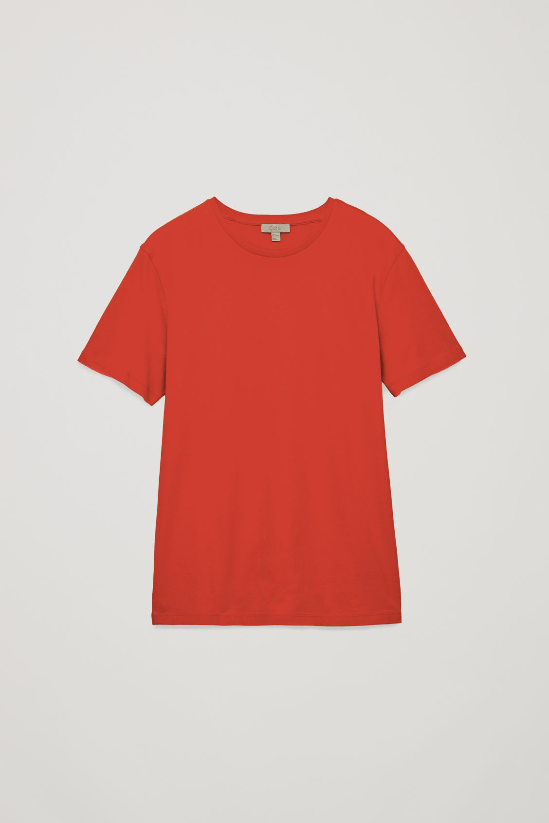 Front image of Cos round-neck t-shirt in orange