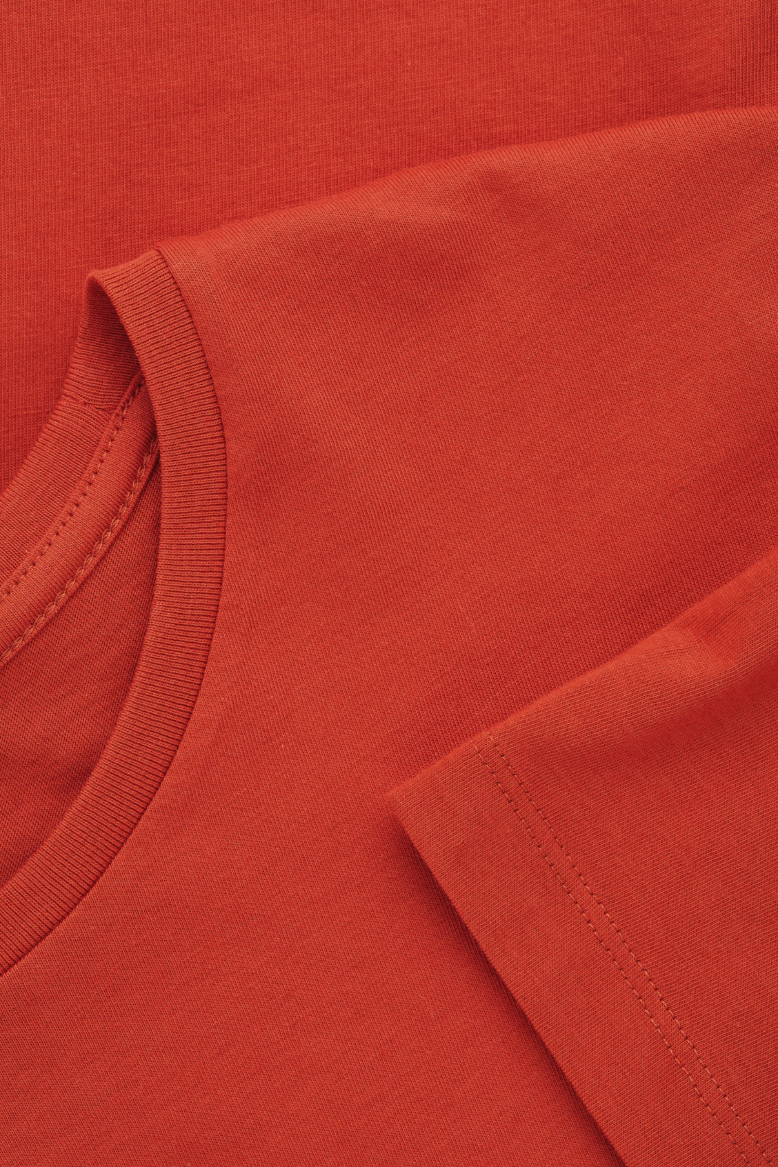 Side image of Cos round-neck t-shirt in orange