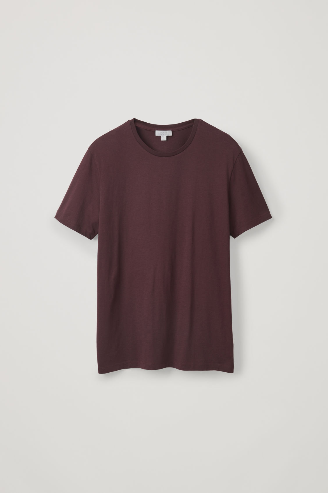 Front image of Cos round-neck t-shirt in burgundy