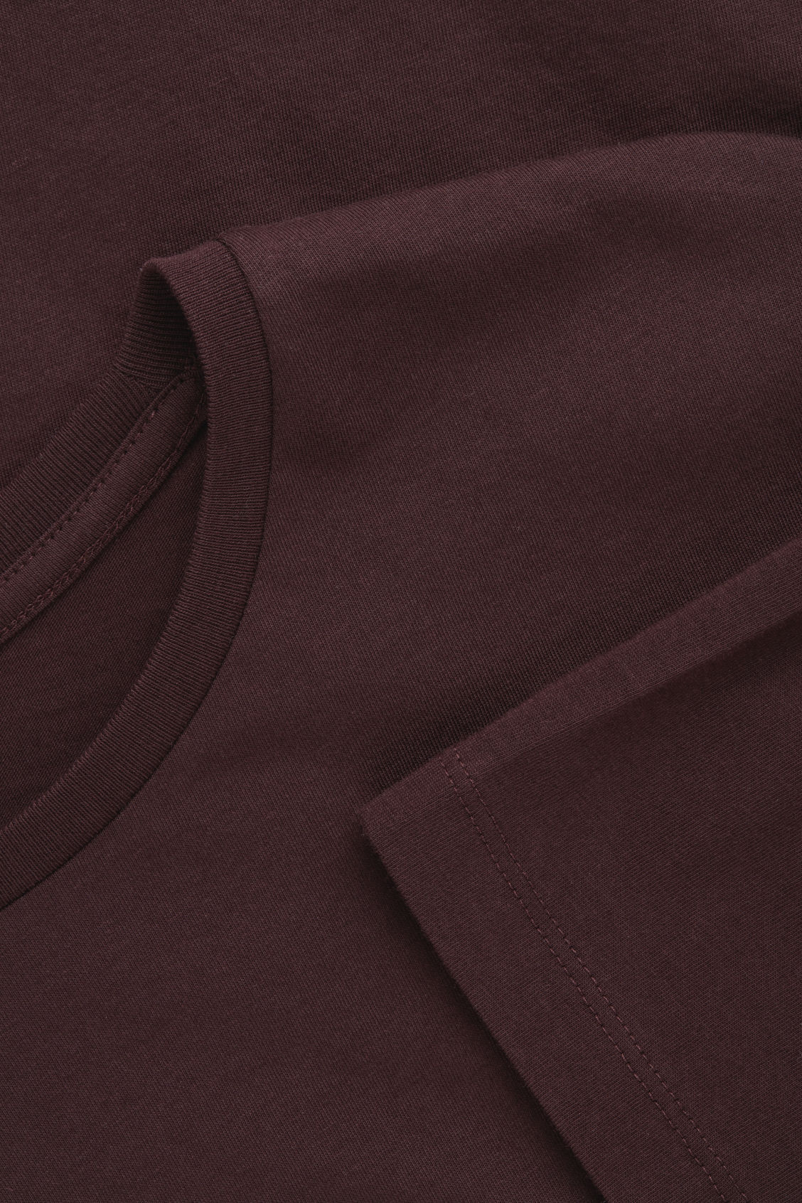 Side image of Cos round-neck t-shirt in burgundy
