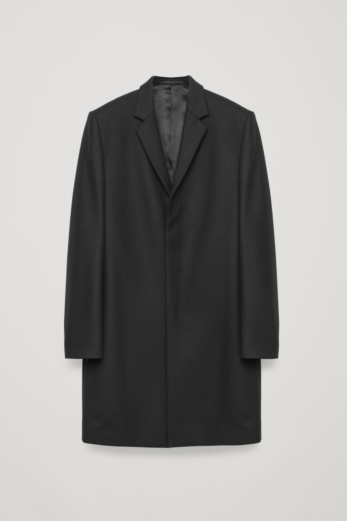 Front image of Cos tailored coat in black
